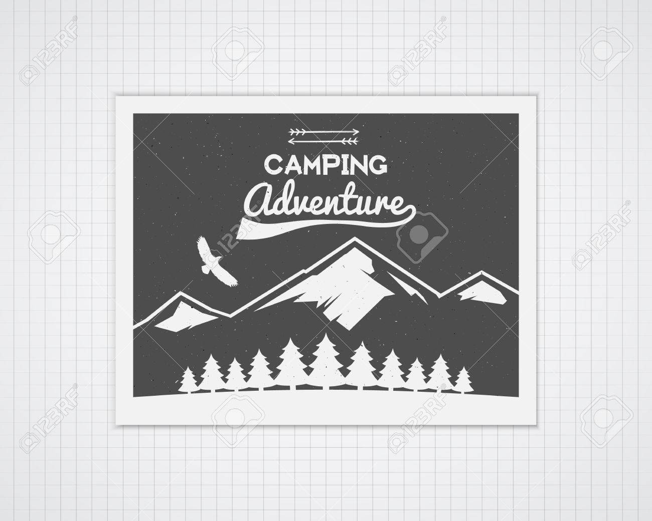 Acampar Plantilla Del Marco Del Vector Con El Cartel Del Viaje ...