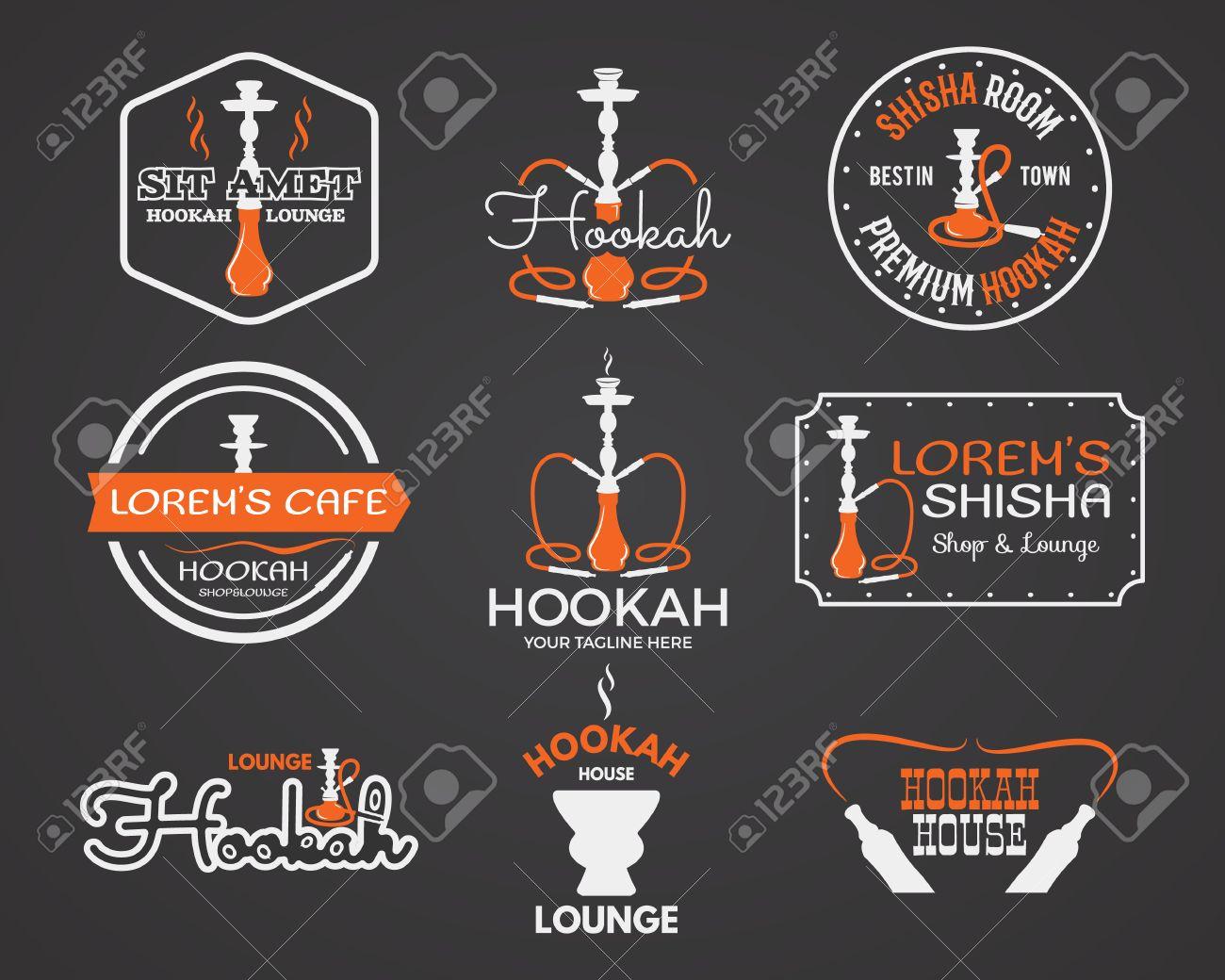 Hookah labels, badges and design elements collection. Vintage shisha logo. Lounge cafe emblem. Arabian bar or house, shop. Isolated vector illustration. - 50398874