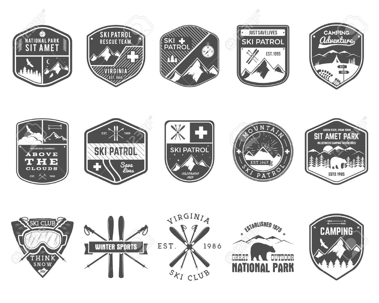Set of Ski Club Patrol Labels. Vintage Mountain winter camp explorer badges. Outdoor adventure logo design. Travel hand drawn and hipster monochrome insignia. Snowboard icon symbol. Wilderness Vector. - 50399324