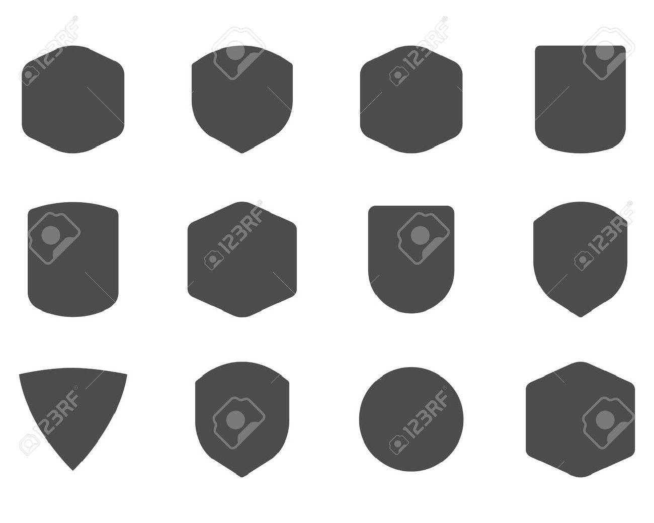 Set of vintage frames, shapes and forms for logo, labels, insignias. Use for travel, camping emblems and so on. Vector logotype sillhouette design. - 50376524