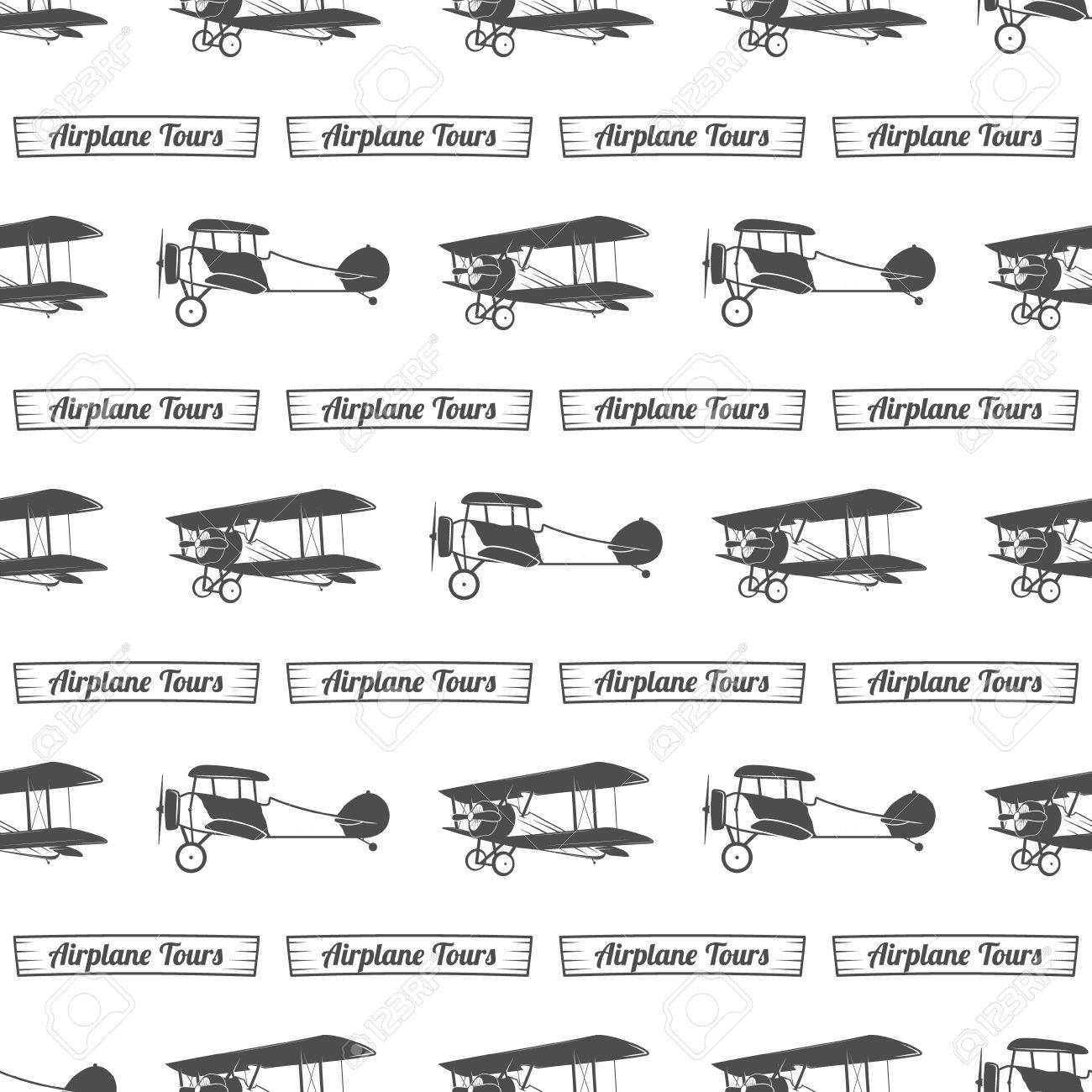 Vintage Airplane Tour Pattern Old Biplanes Seamless Background