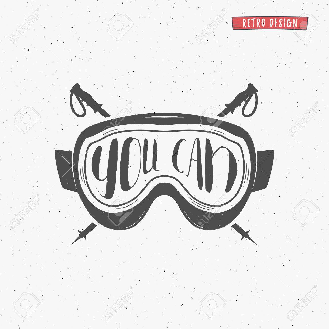 Quote poster design inspiration - Vector Winter Typography Poster Design With Inspiration Quote You Can Motivational Snowboard Sign Sports Fun Greeting Card With Goggles