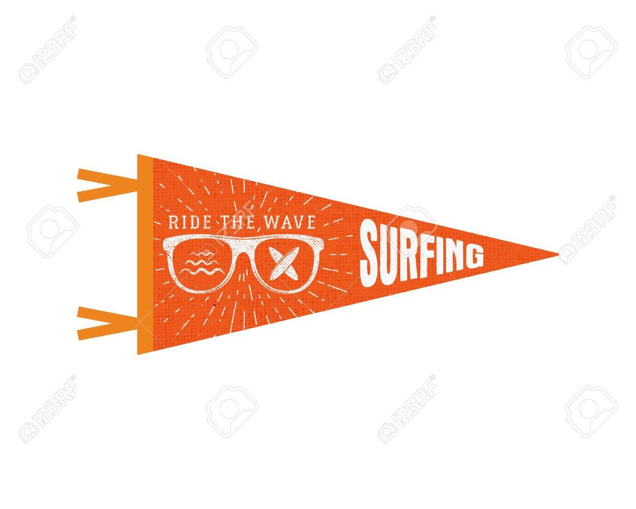 Surfing Pennant Summer Flag Design Vintage Surf Emblem With Glasses Longboard