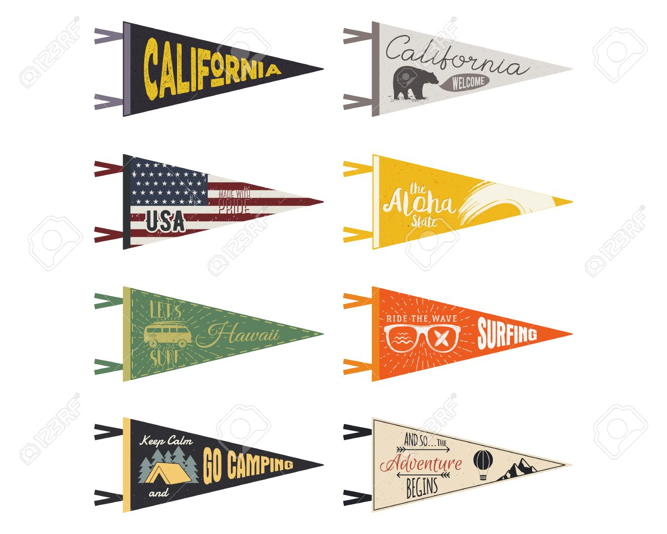 set of adventure pennants vector pennant explore flags design