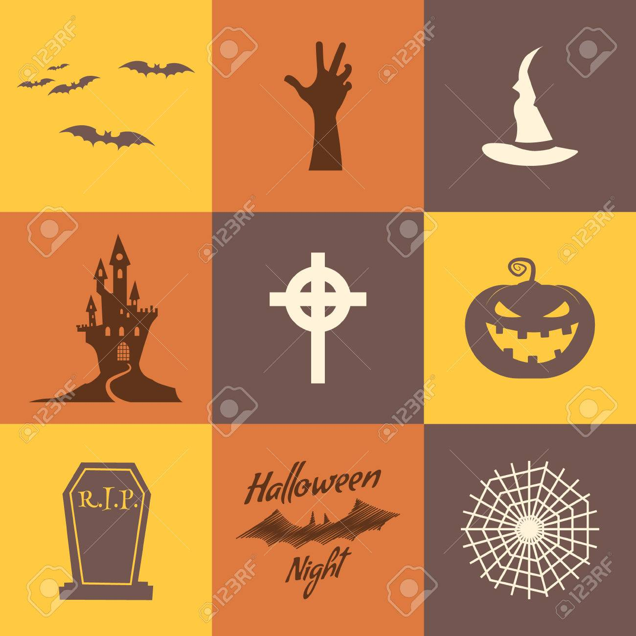 Set Of Halloween Icons Isolate On Multicolor Backgrounds Flat