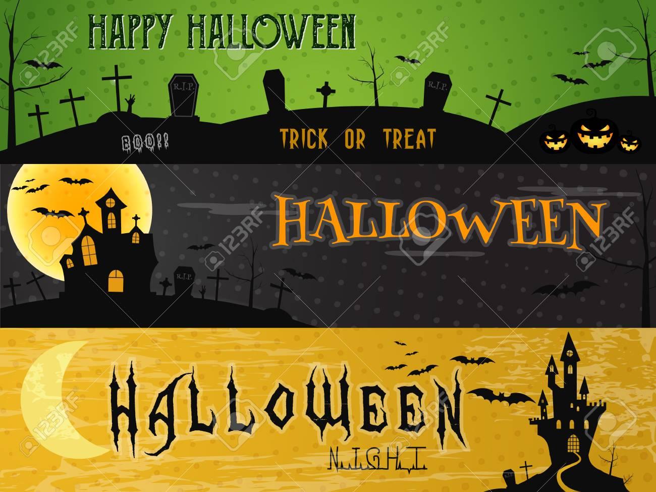 Halloween Gebruiken.Drie Halloween Landschap Banners Groen Donker En Oranje Ontwerpen Kan Te Gebruiken Op Het Web Print Als Uitnodiging Flyer Kaart Halloween