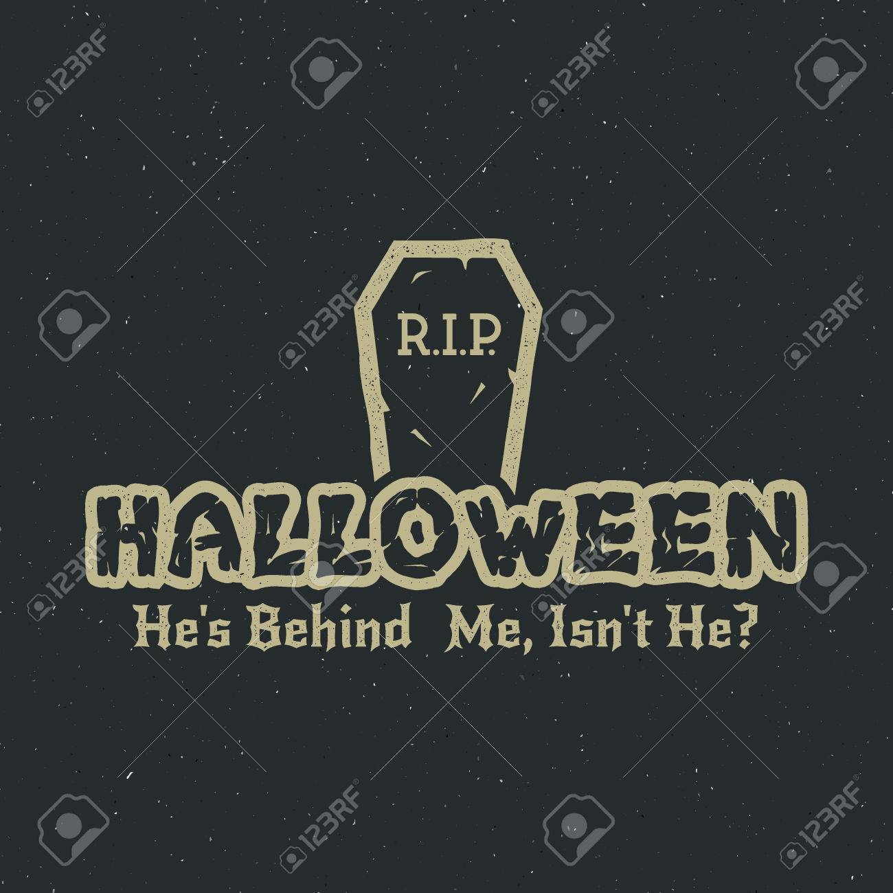 Halloween 2016 Party Label Template With Tombstone And Typography Elements Vector Text Retro Grunge