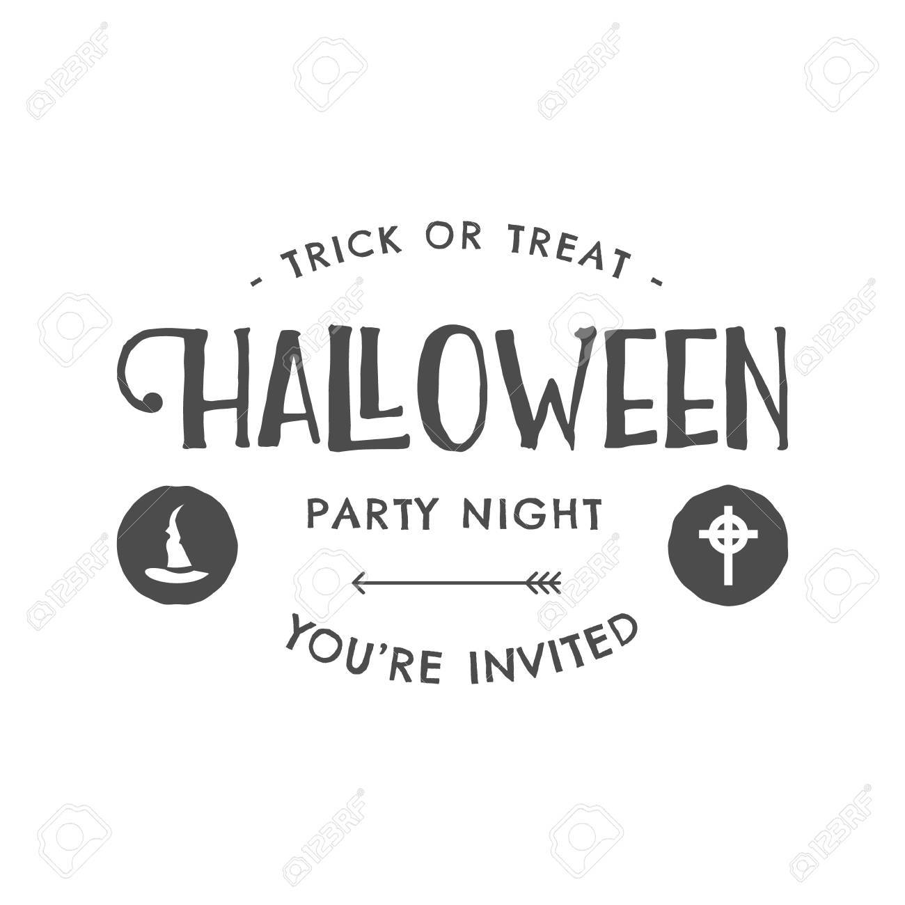 Halloween 2016 Party Invitation Label Templates With Scary Symbols ...