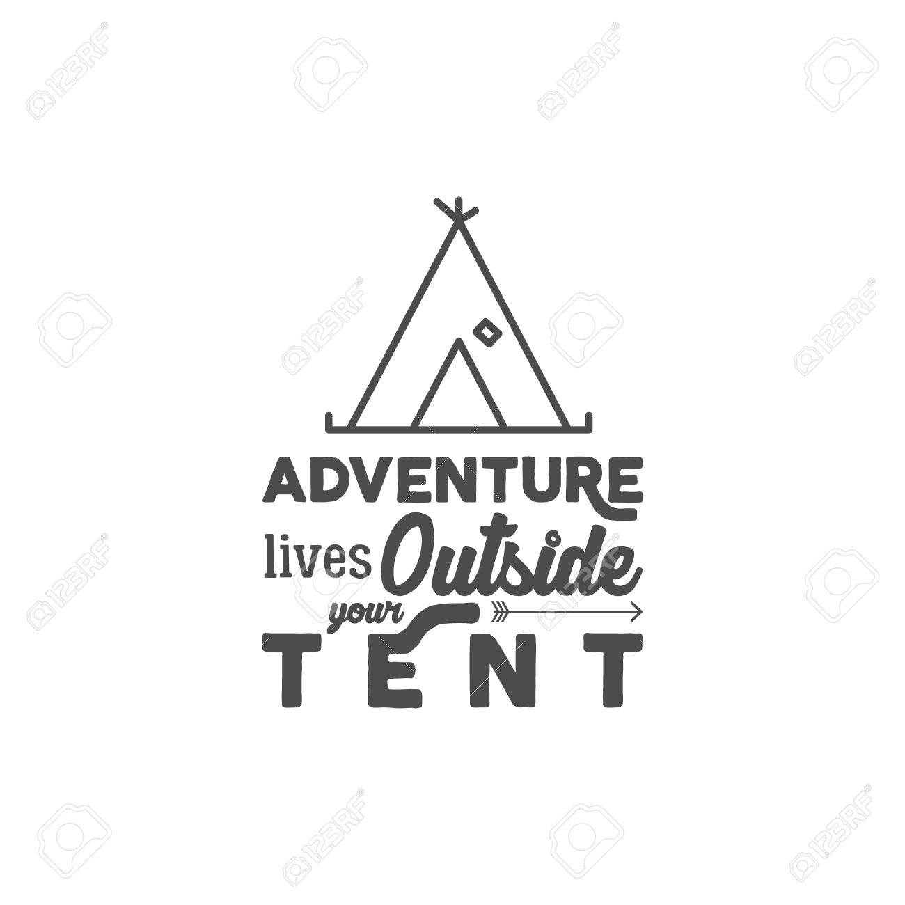 47aacc6c Camping with typography saying and travel elements - tent. Adventure style  for tee design,