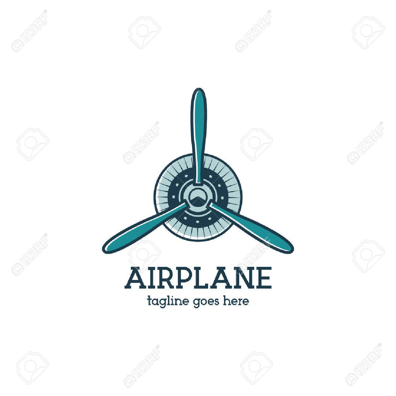 92cec64a56ce Airplane propeller logo template with radial engine. Retro Plane badge.  Flat design for prints