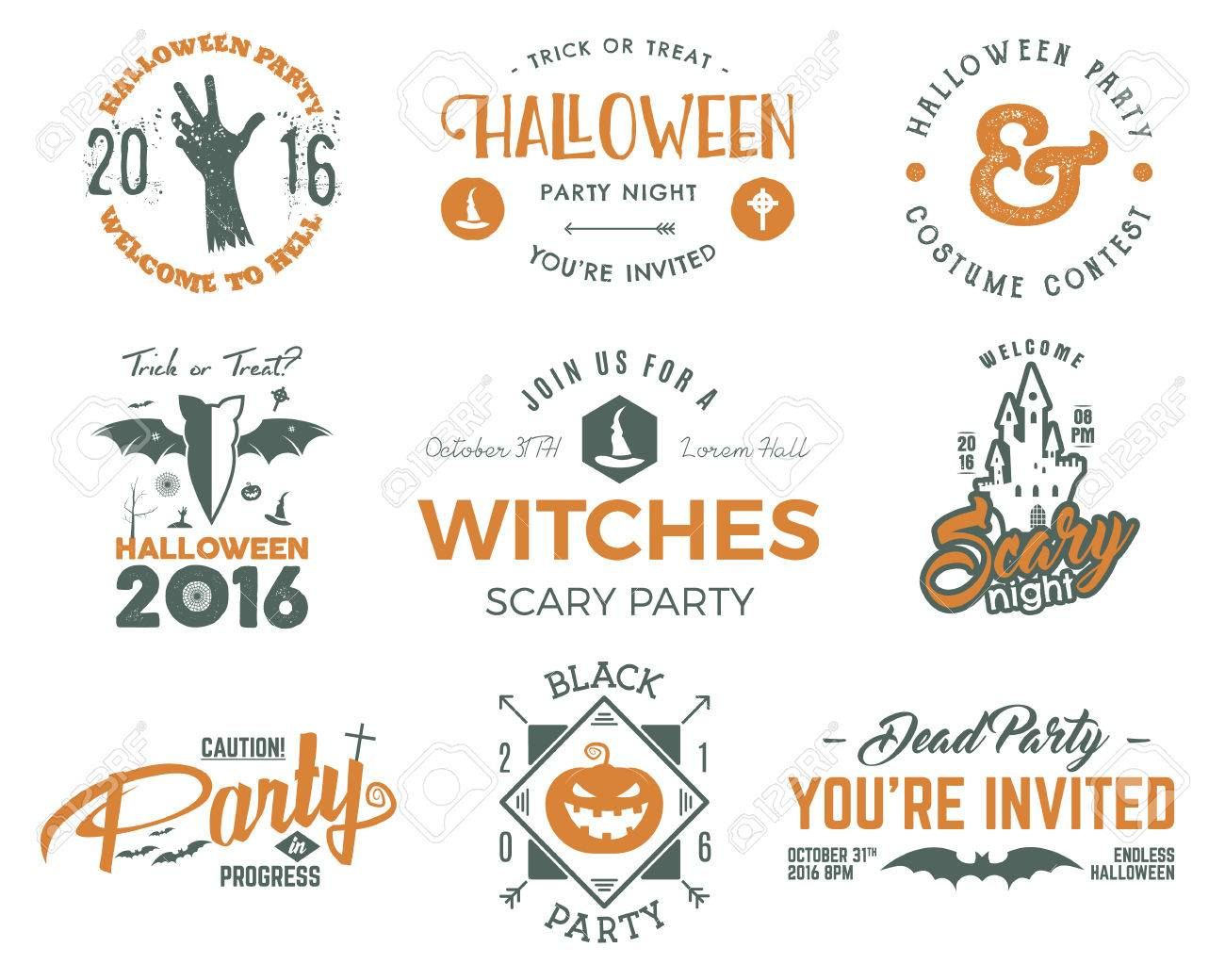 Halloween 2016 Partei Etiketten Vorlagen Mit Scary Symbole