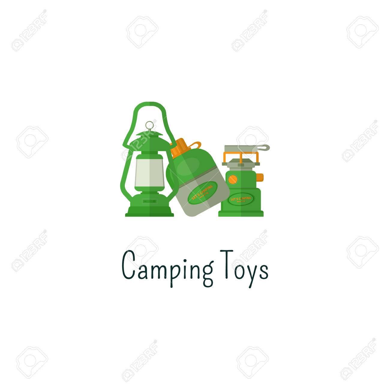 Camping Spielzeug Flach Symbol. Spielzeug Isoliert Farbe Piktogramm ...