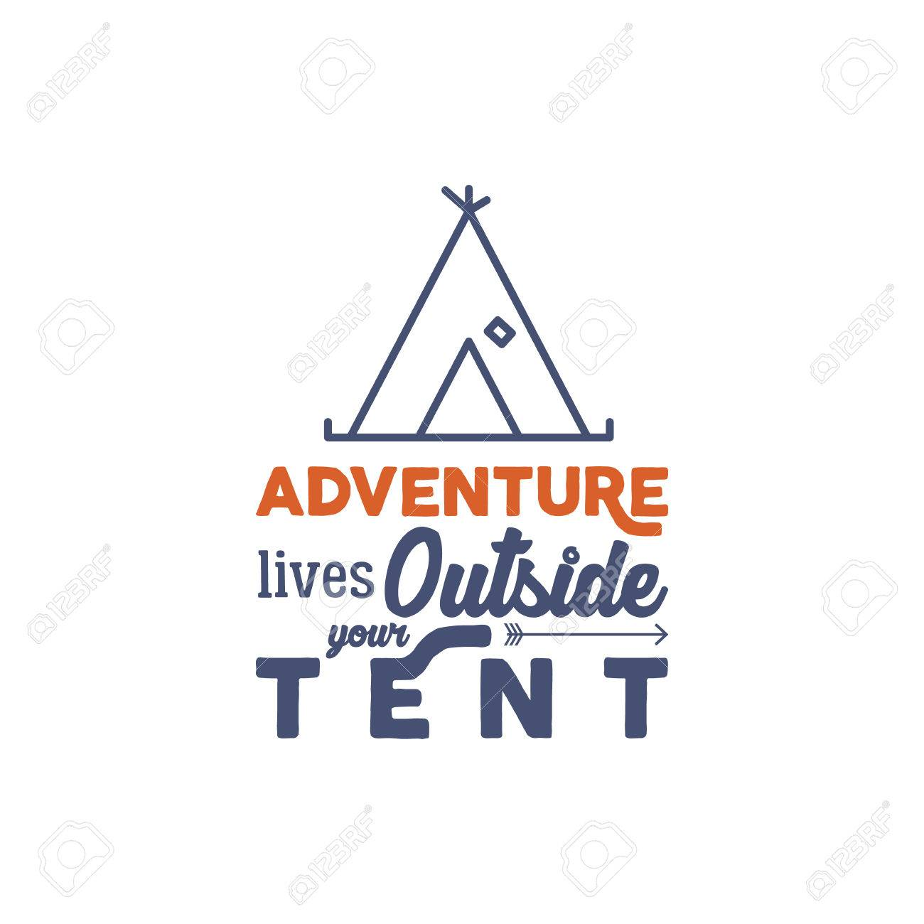 Camping Logo With Typography Saying And Linear Travel Elements
