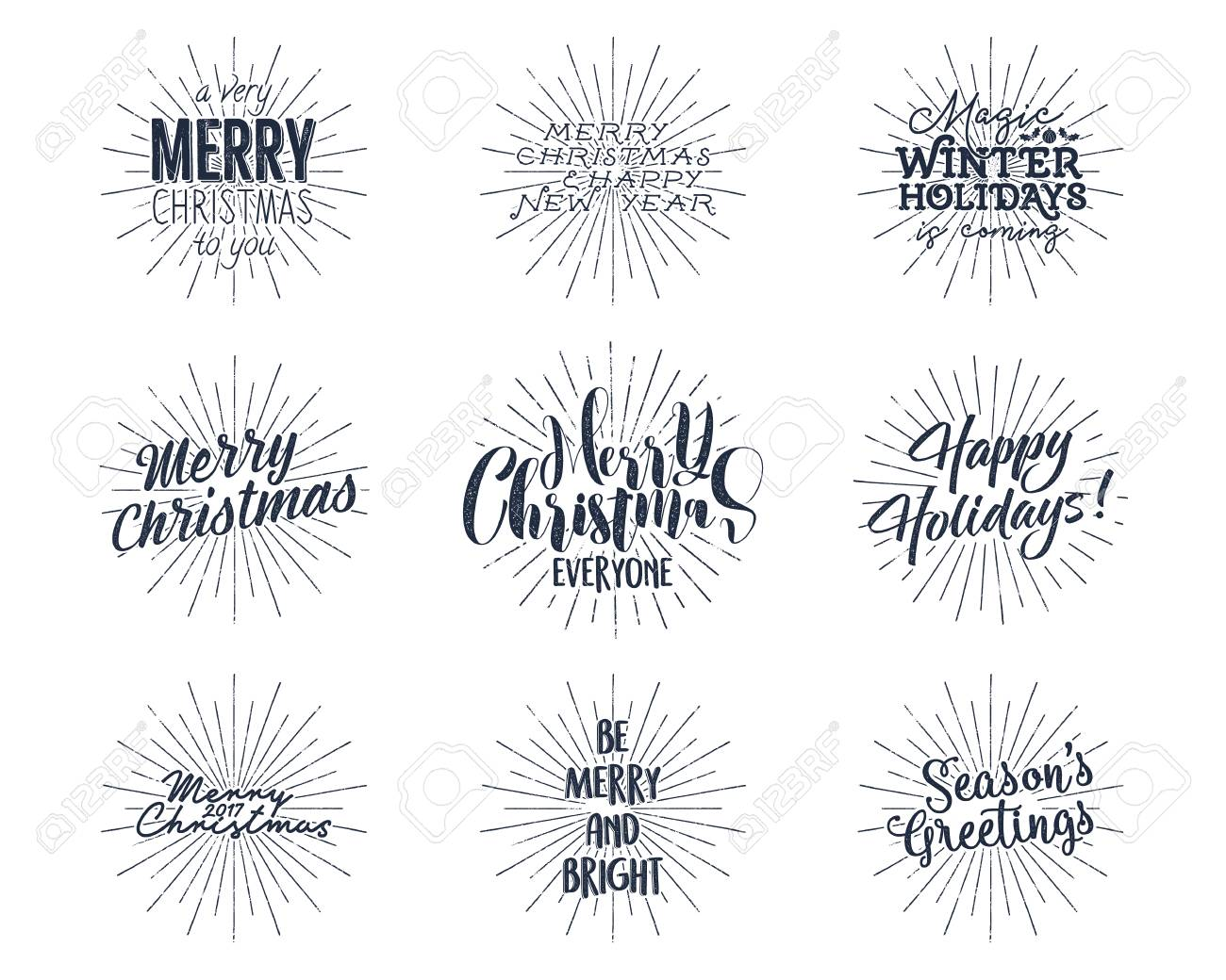Christmas Sayings.Set Of Christmas New Year 2017 Lettering Wishes Sayings And