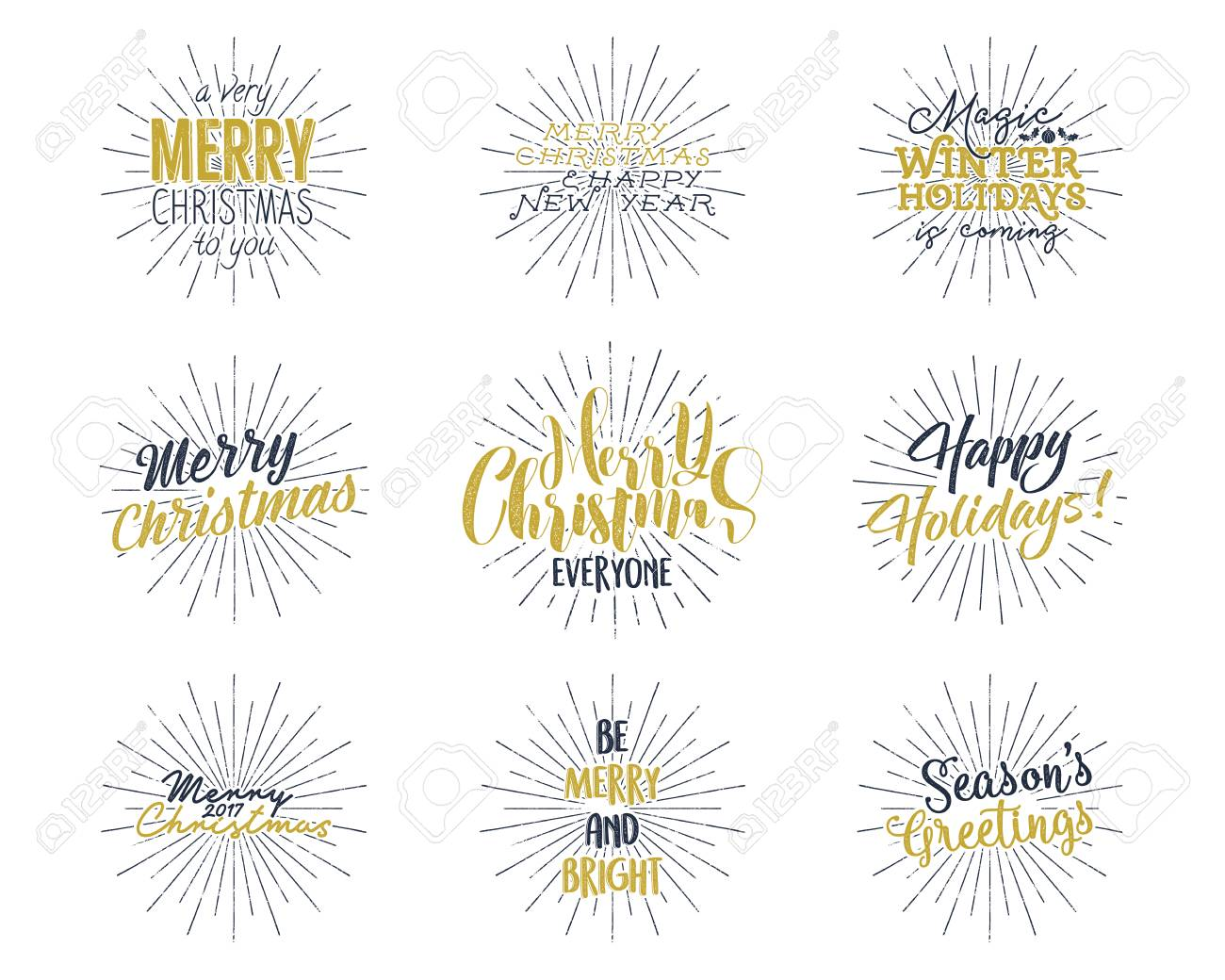 Set of christmas new year 2017 lettering wishes sayings and illustration set of christmas new year 2017 lettering wishes sayings and vintage labels seasons greetings calligraphy holiday typography design m4hsunfo