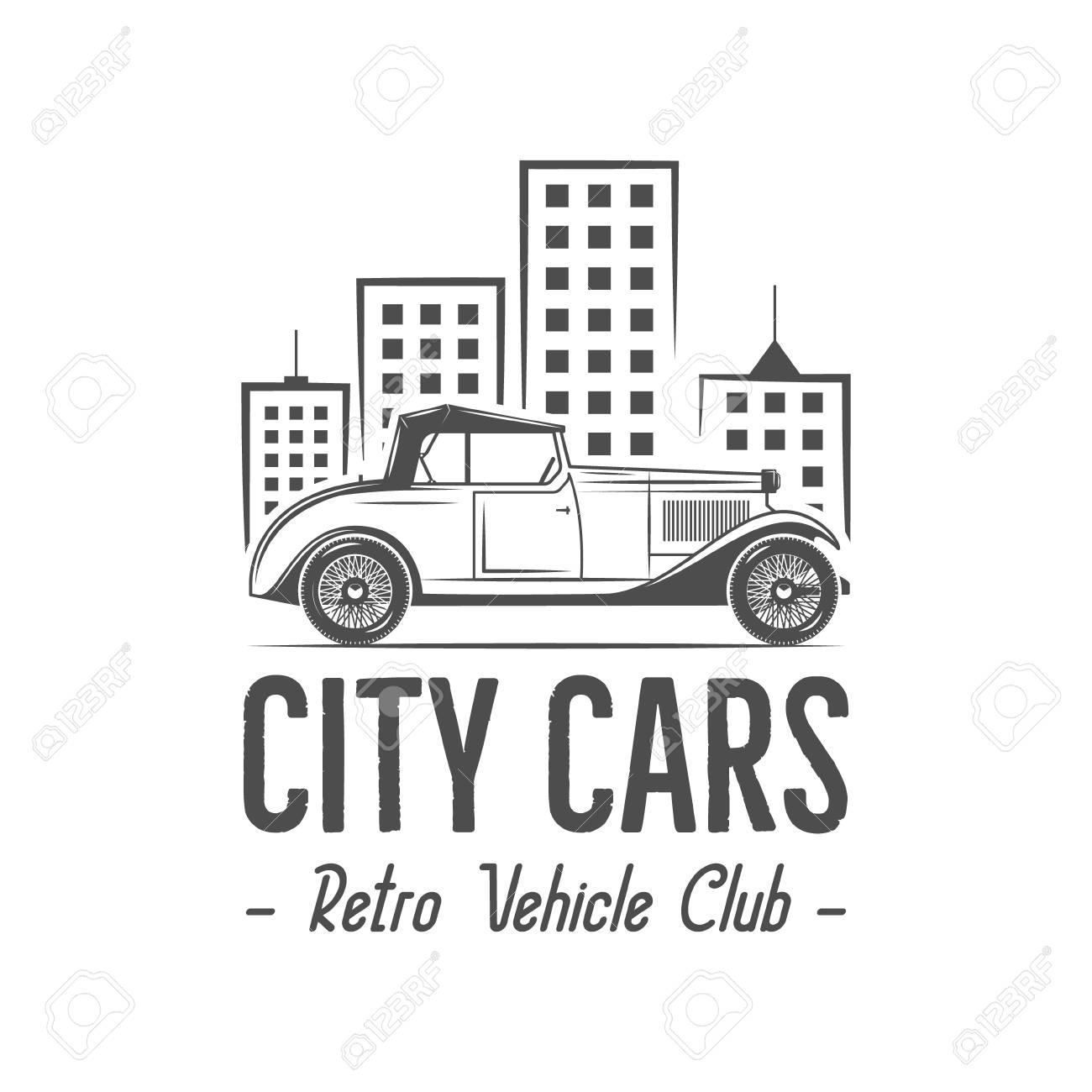 Vintage City Car Label Design. Classic Auto Badge, Insignia ...
