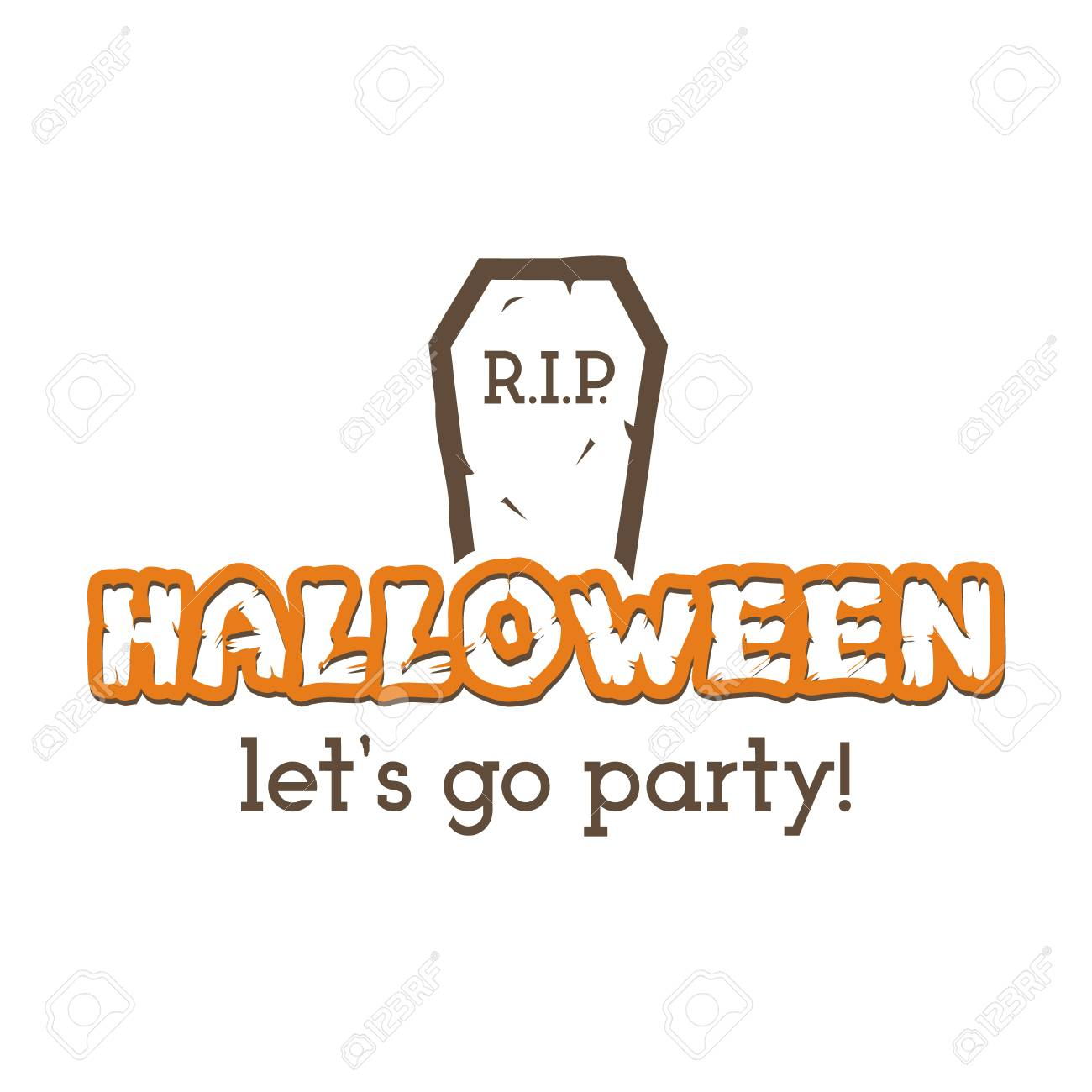 Halloween RIP Party Label Template With Tombstone And Typography Elements Text Retro Grunge Effect
