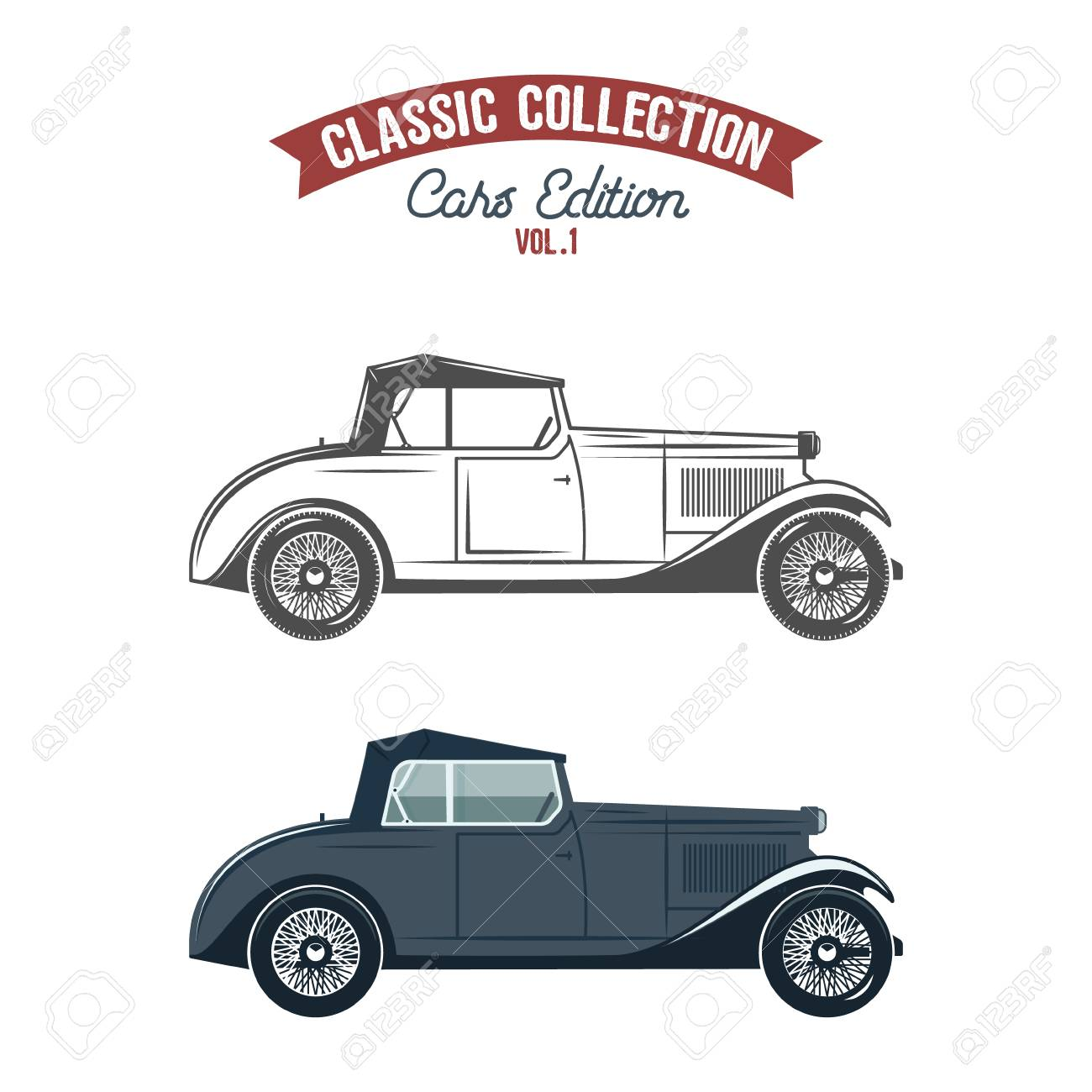 Retro Gangster Car (1930-40th). Car Icons In Flat Color And ...