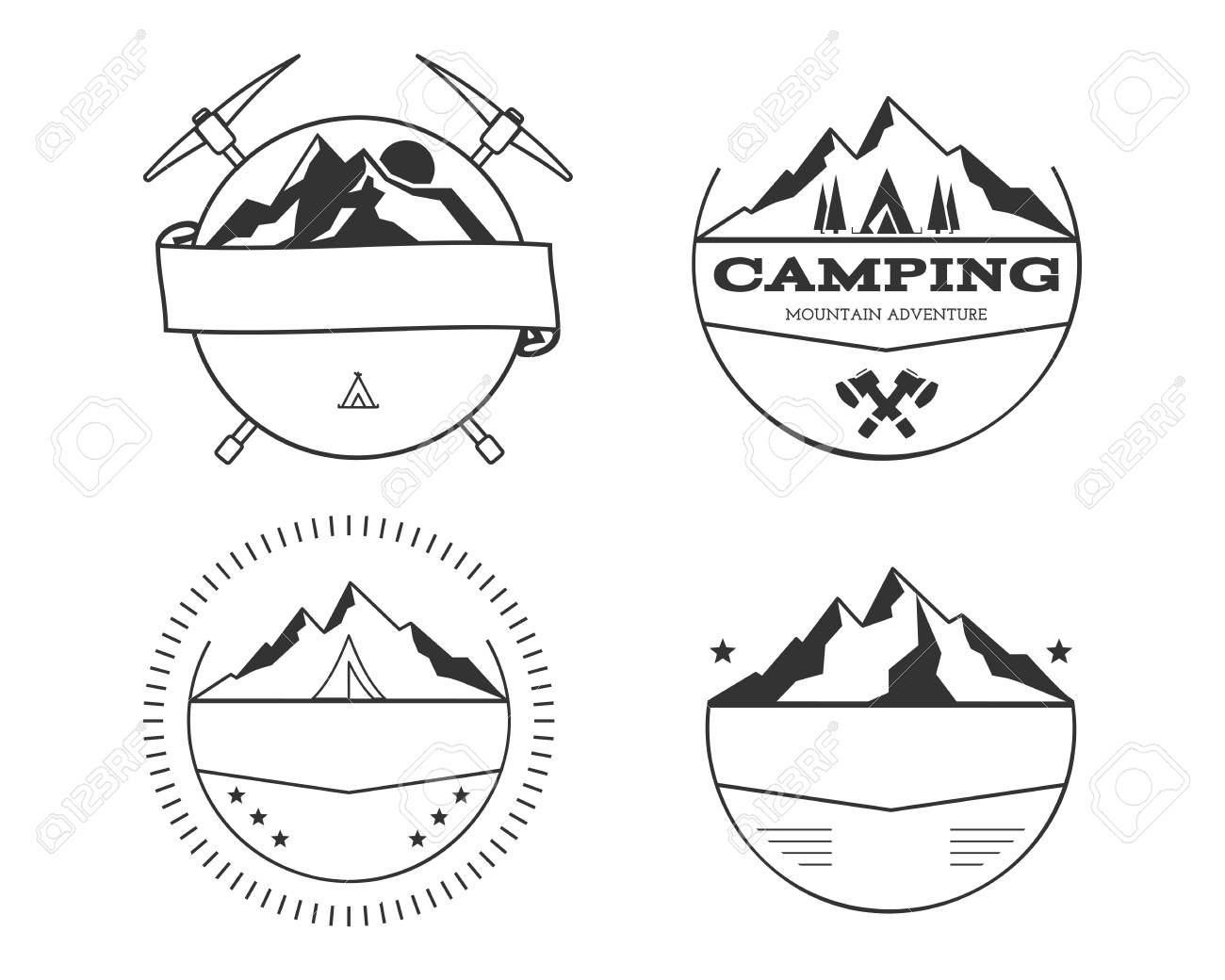 set of blank vintage summer camp badges and outdoor logo templates