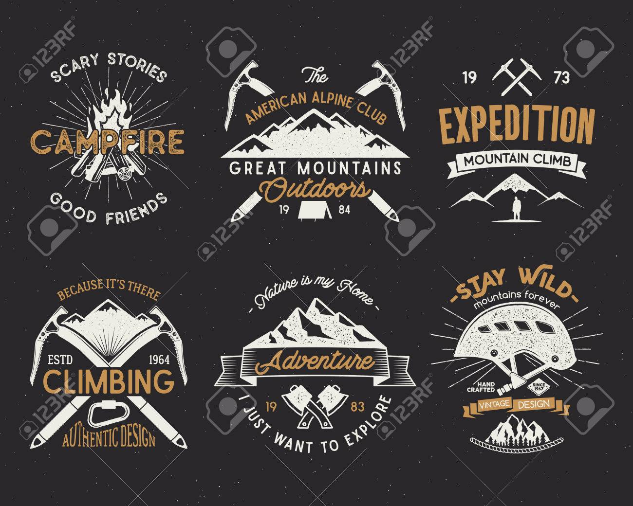 Set of mountain climbing labels, mountains expedition emblems, vintage hiking silhouettes logos and design elements. Vector retro letterpress style isolated. Wilderness patches isolated on white. Banque d'images - 74269911