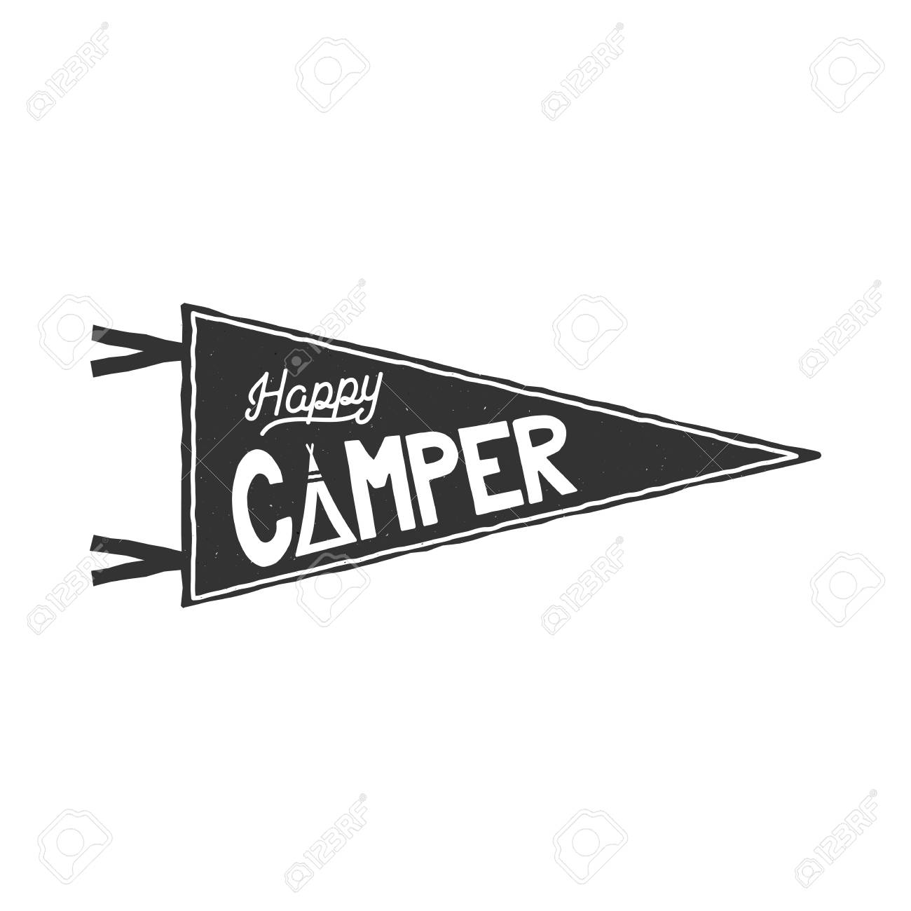 Happy Camper Pennant Template Typography Design And Outdoor Activity Symbol