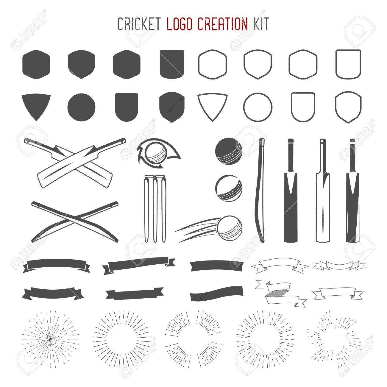 Cricket icon creation kit sports designs icons set create sports designs icons set create your own emblem design biocorpaavc Gallery