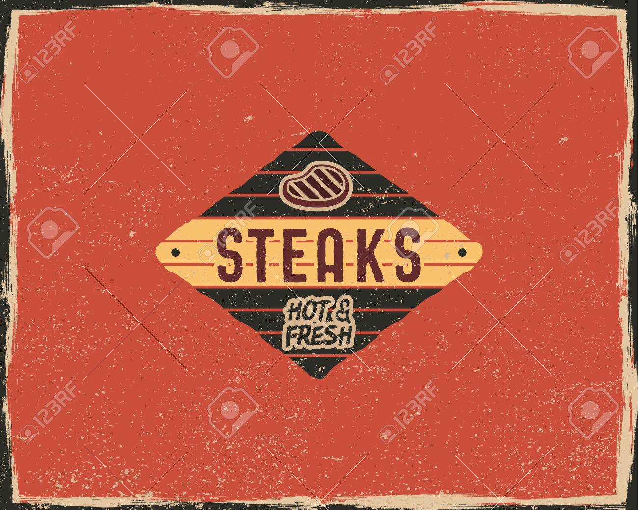 steak house typography poster template in retro old style offset