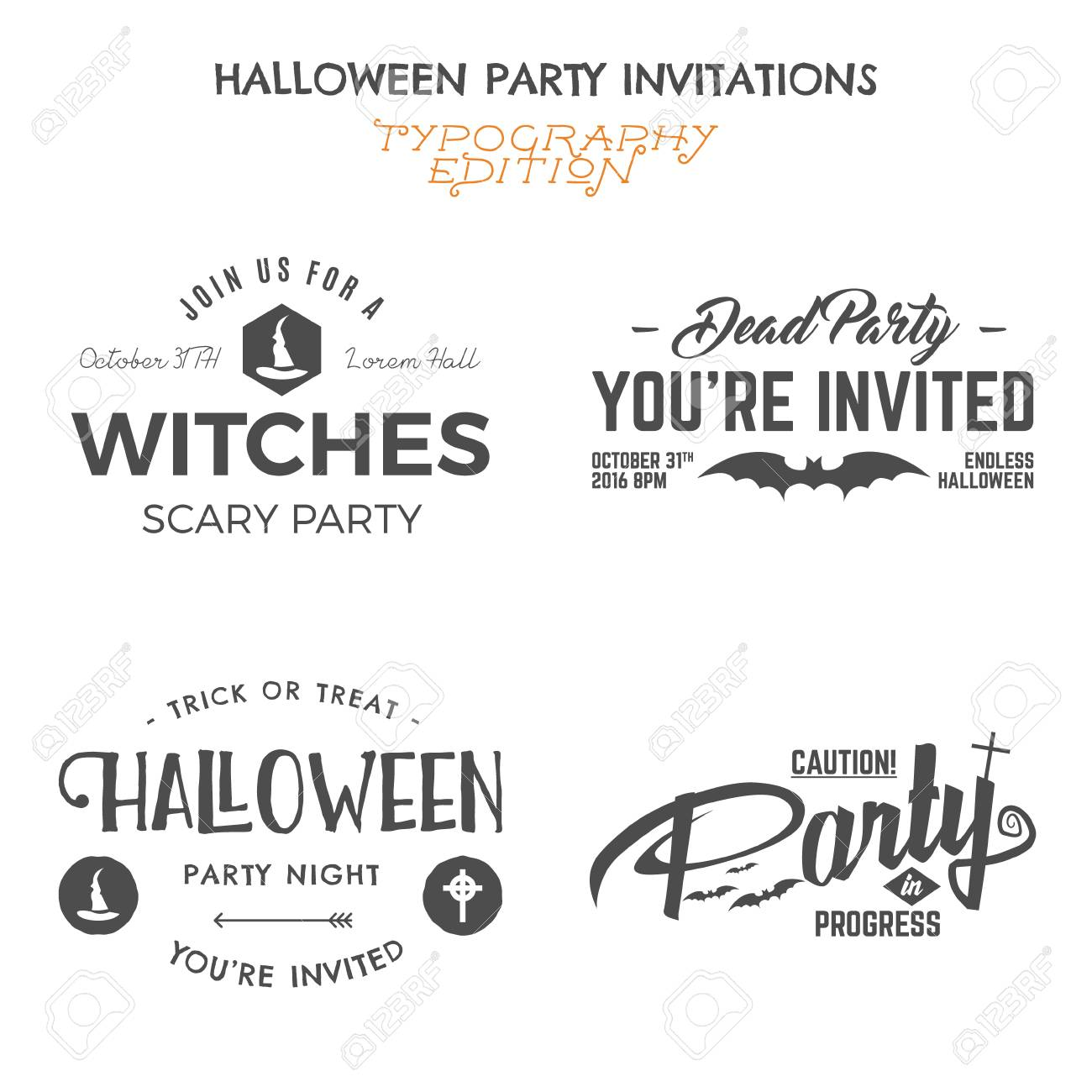 Halloween 2016 Party Invitation Label Templates With Holiday ...