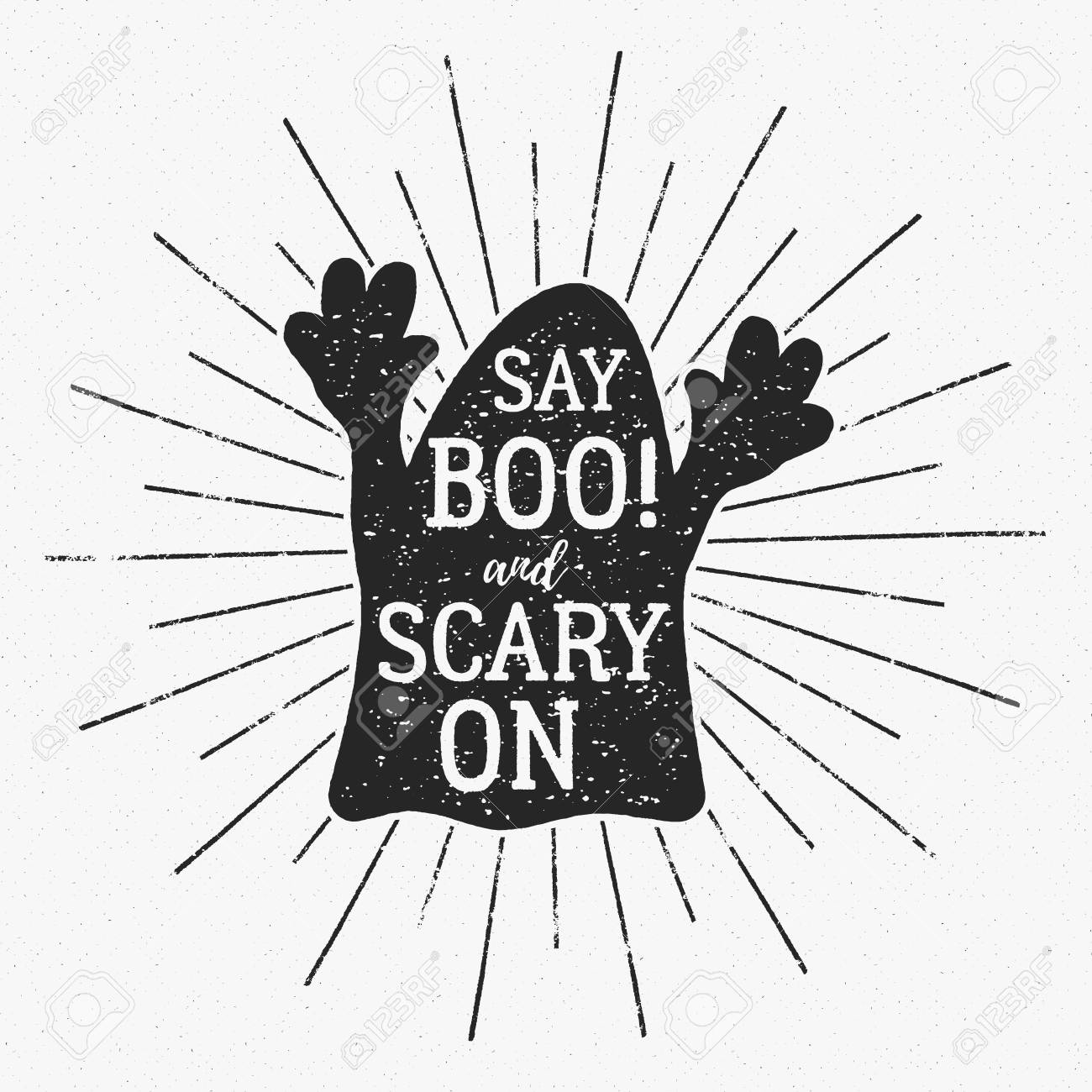 Halloween Typography Label Template. Text - Say Boo And Scary ...