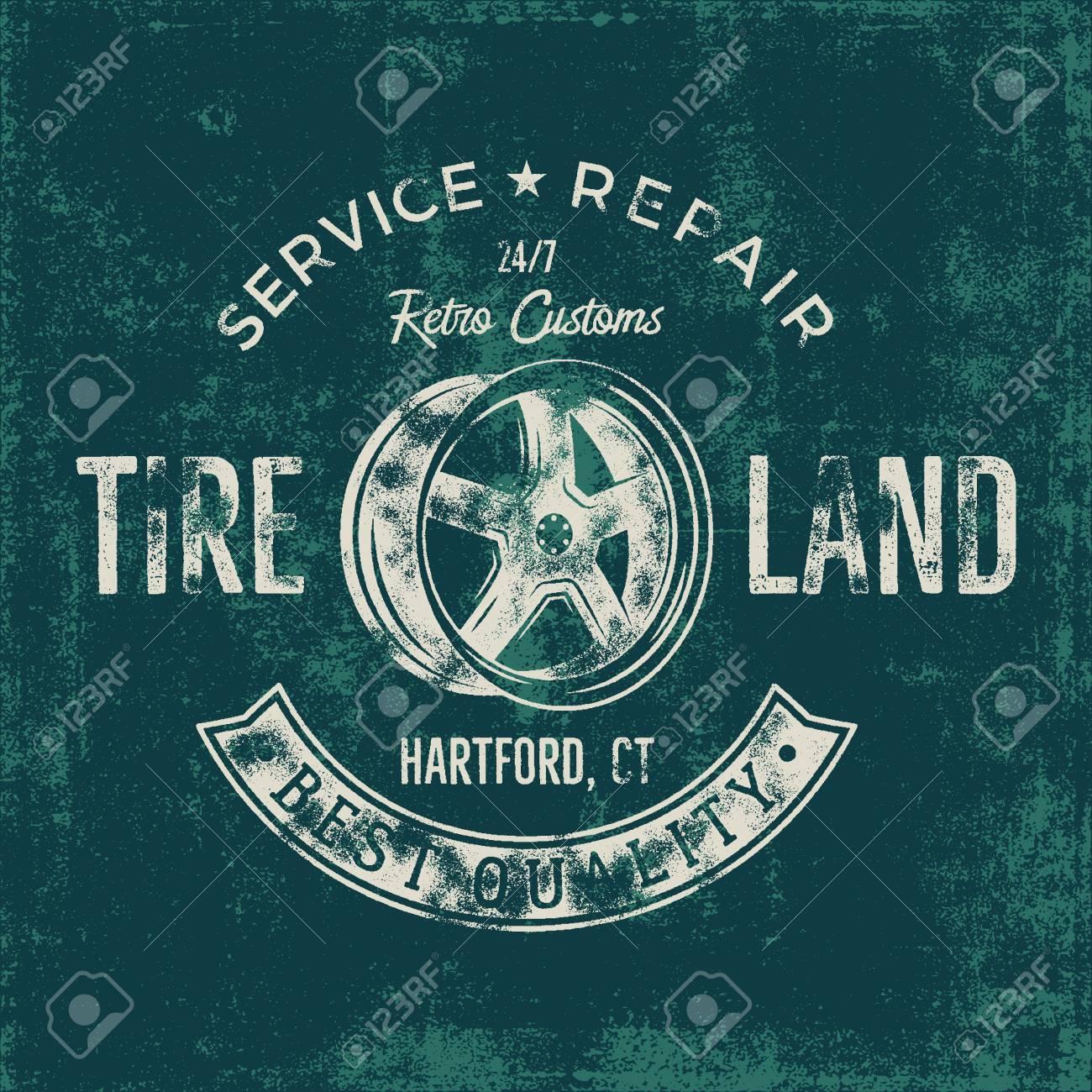 Garage Service Vintage Tee Design Graphics Tire Land Repair Typography Print T