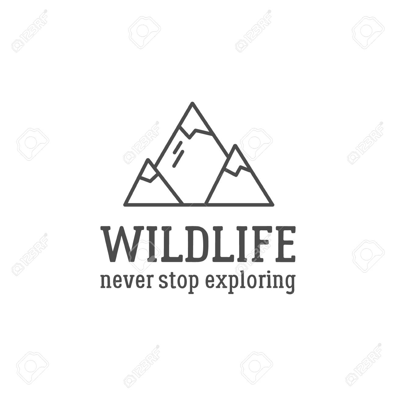Camping logo design with typography and travel elements - mountain