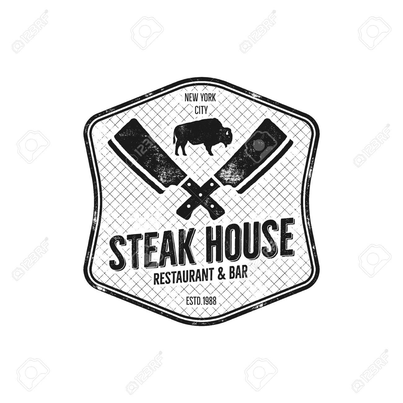 Steak House Vintage Label Typography Letterpress Design Vector