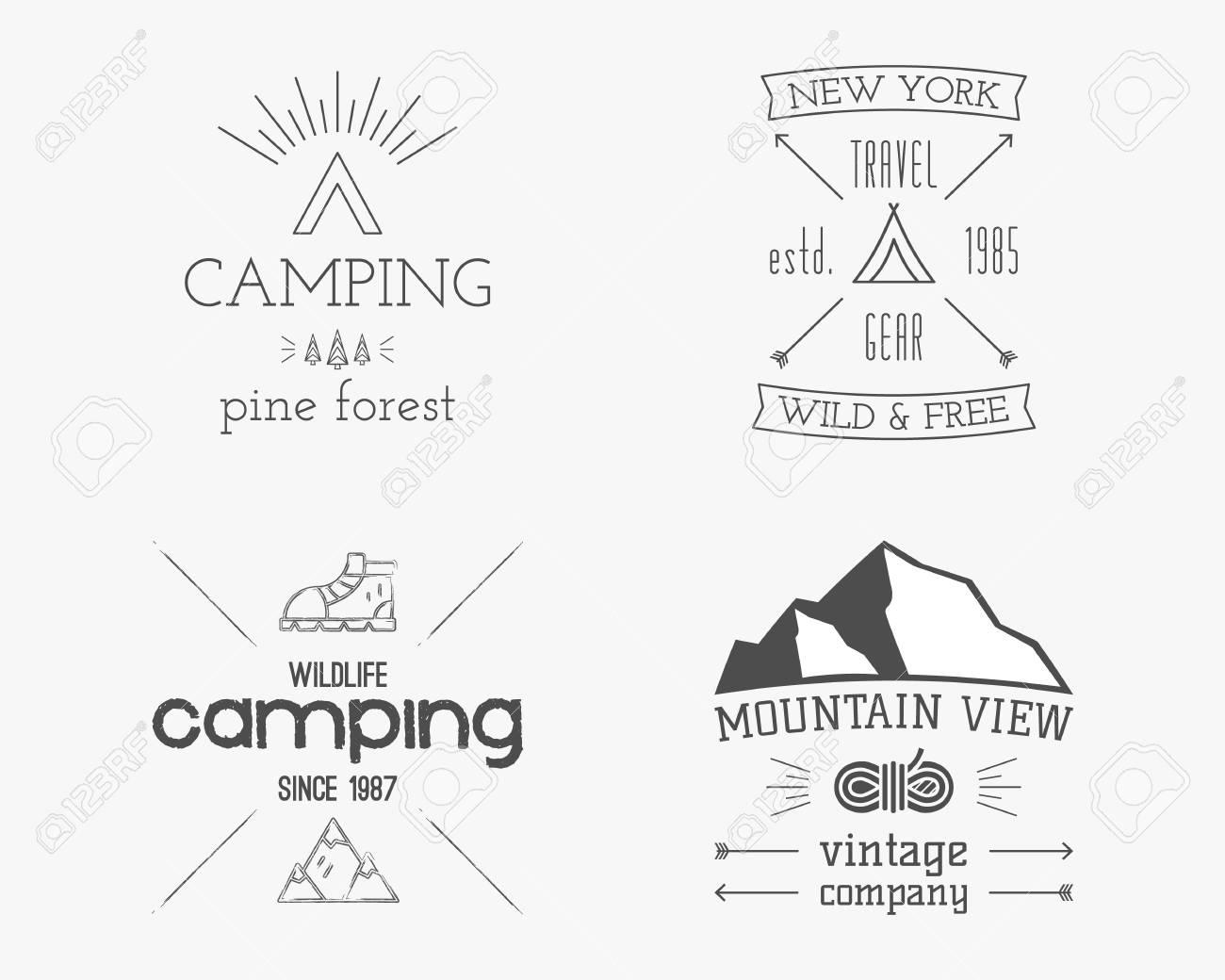 Insignia De Campo De Bosque De Montaña Y Familia, Logotipo Y ...