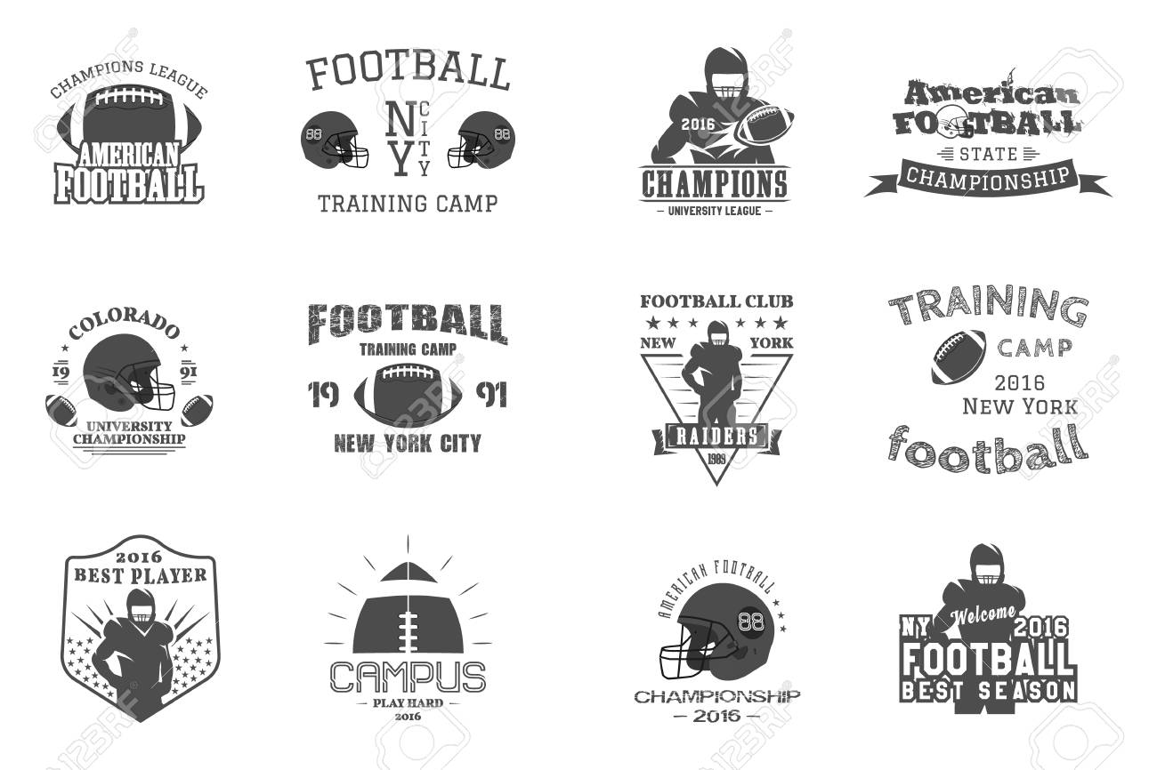 graphic about Printable College Logos named Higher education rugby and american soccer staff, campus, higher education badges..