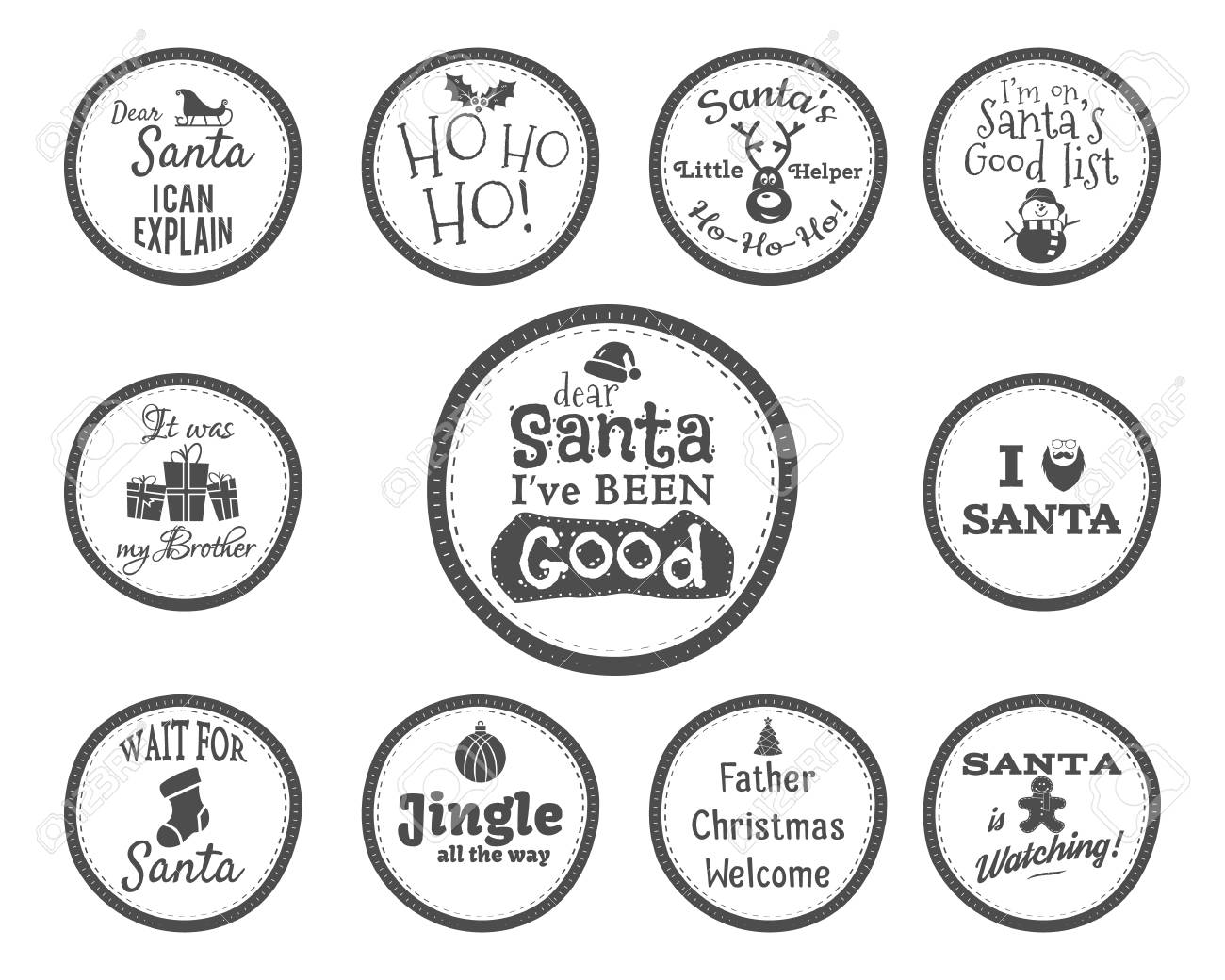 Christmas Badge And Design Elements With Funny Signs, Quotes.. Stock ...