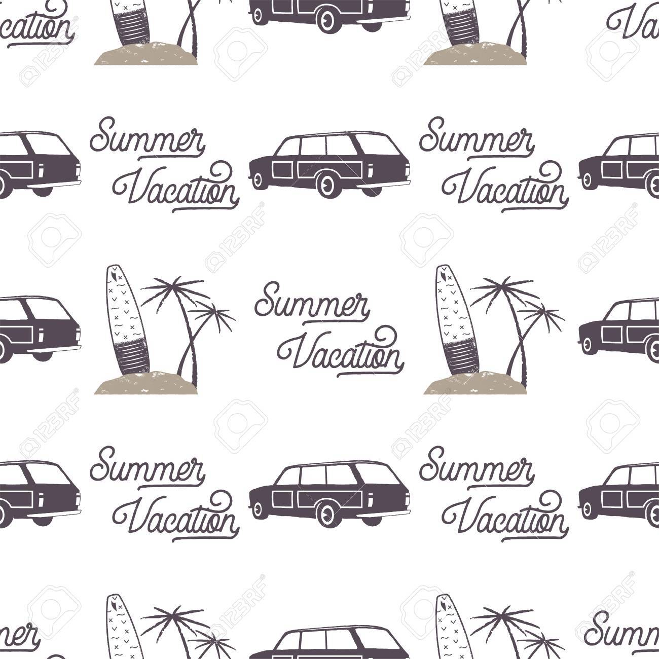 Surfing Old Style Car Pattern Design. Summer Seamless Wallpaper ...
