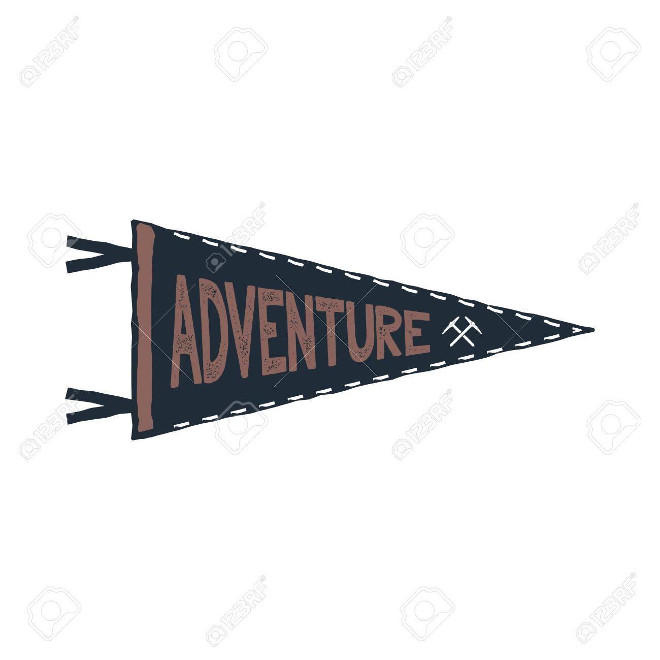 adventure pennant design monochrome pendant template typography