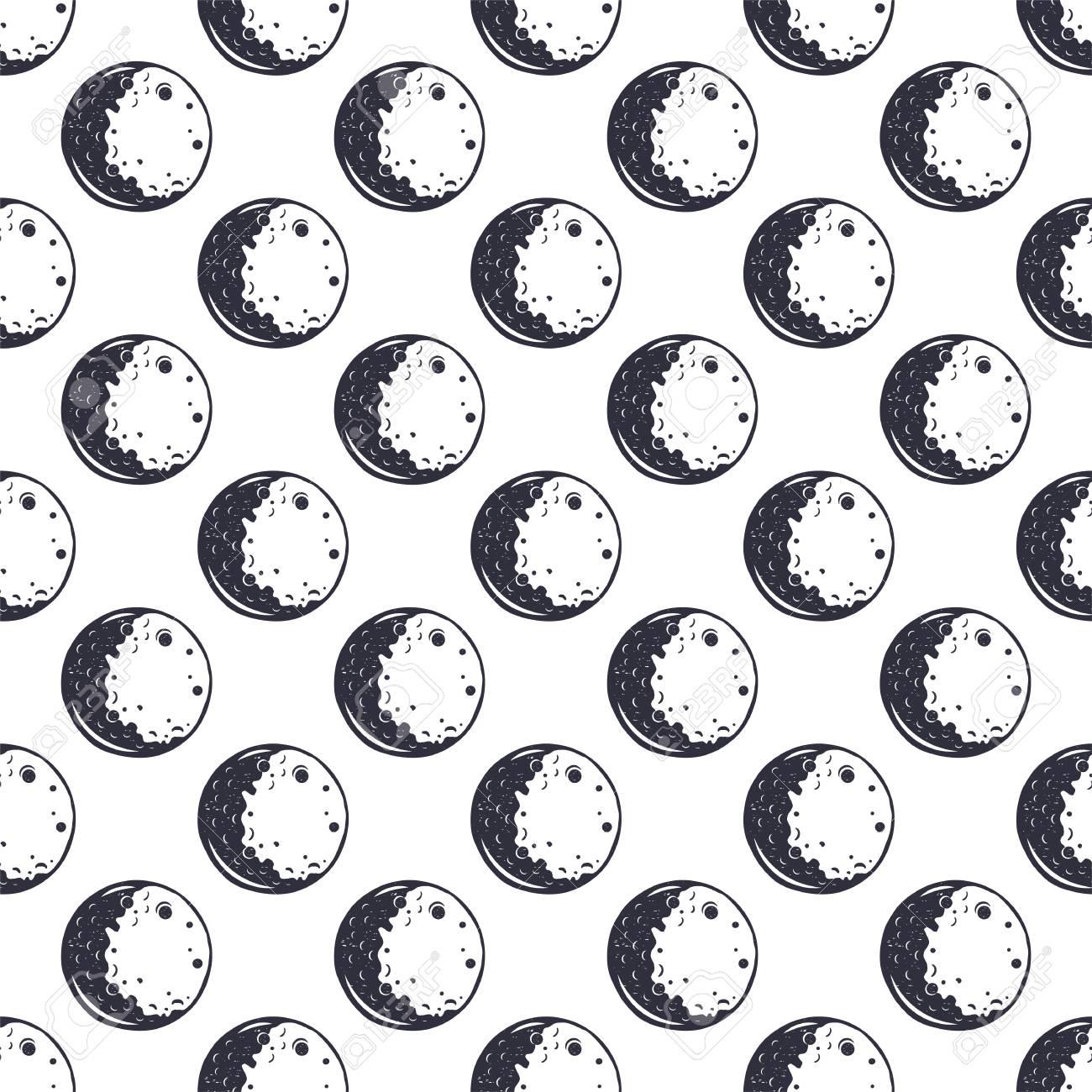 Modèle Sans Couture De Lune Monochrome Conception De Papier Peint