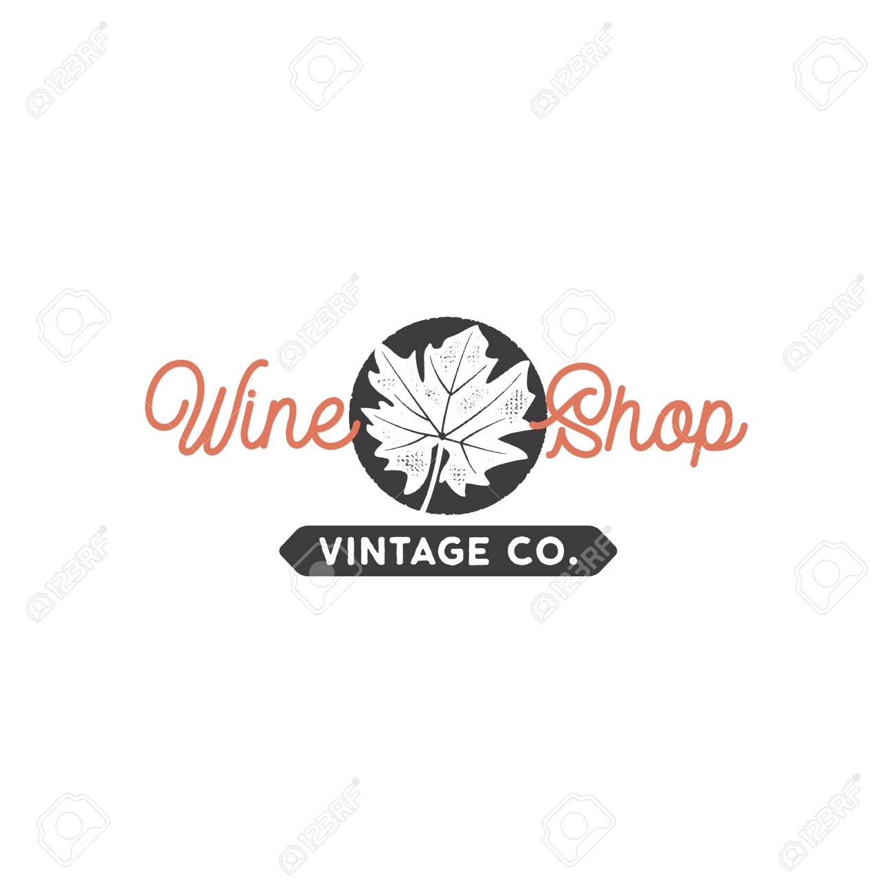 Wine Shop Logo Template Concept Grape Leaf In Black Circle And