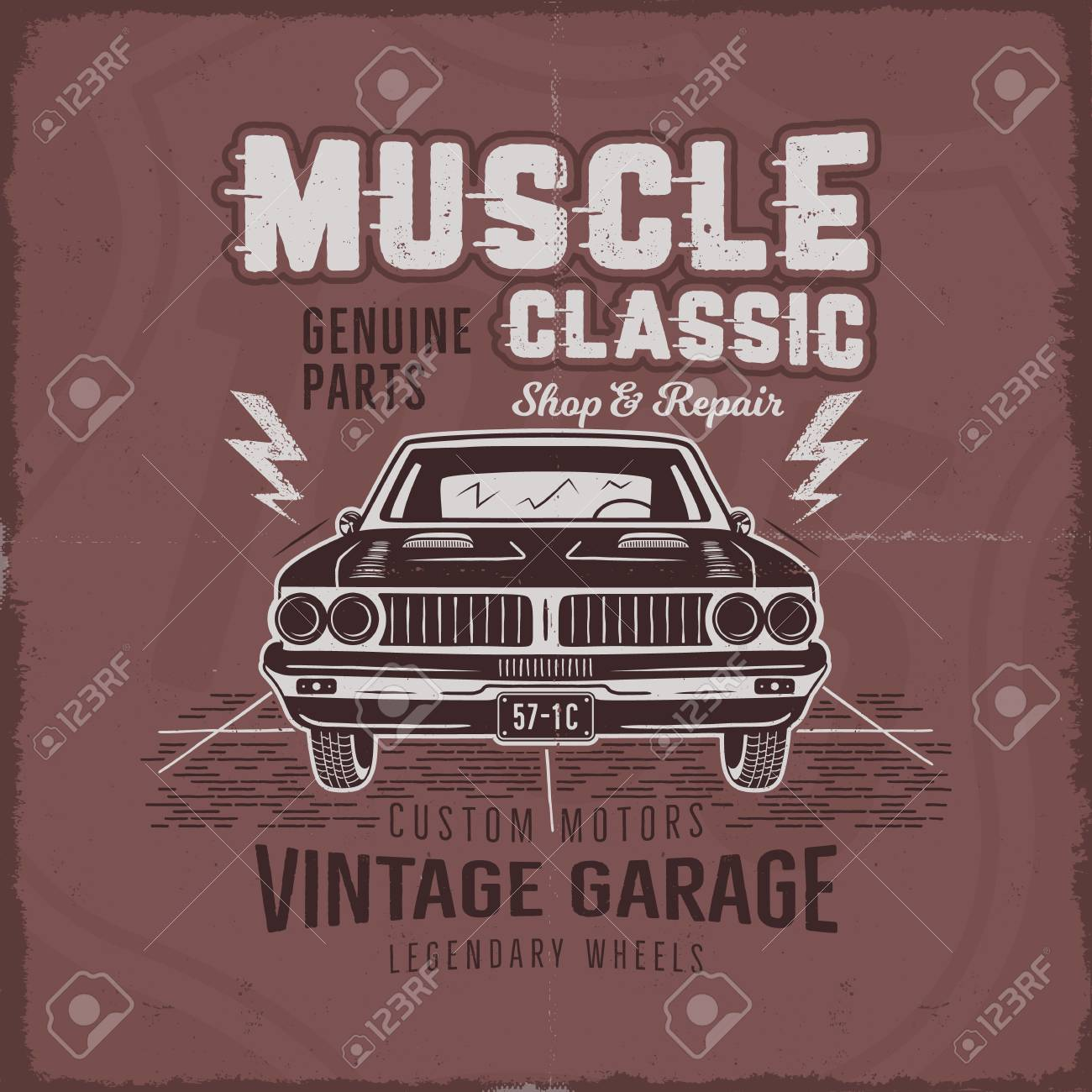 a6cd19508 Vector - Vintage hand drawn muscle car t-shirt design. Classic car poster  with typography retro style poster with red grunge background.