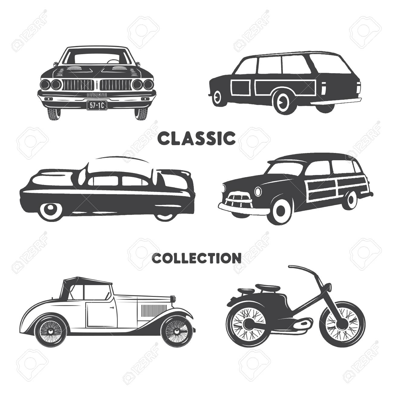 Classic cars vintage car icons symbols set vintage hand drawn cars muscle