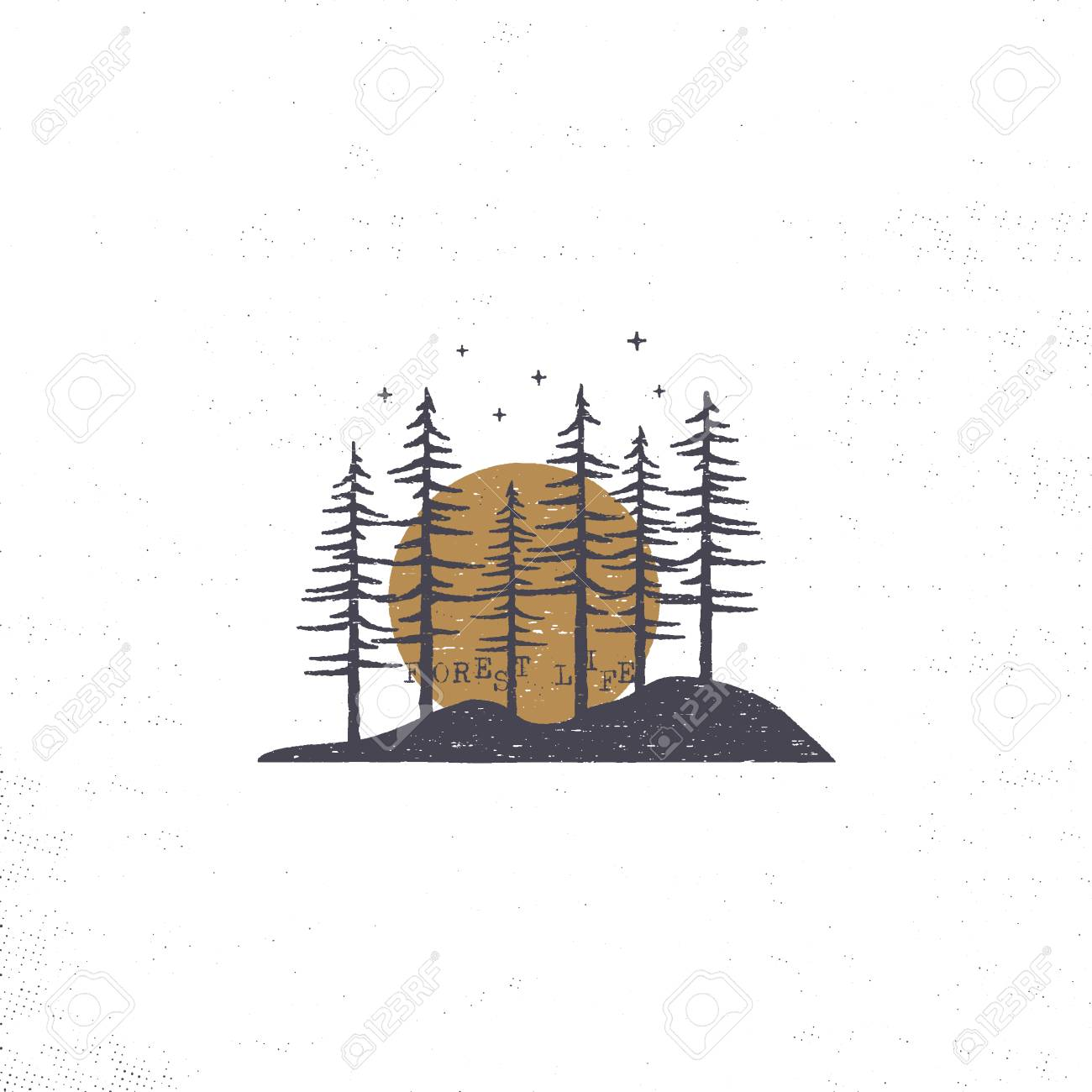 Hand drawn forest with sun concept. Pine trees textured illustration with stars. - 102499993