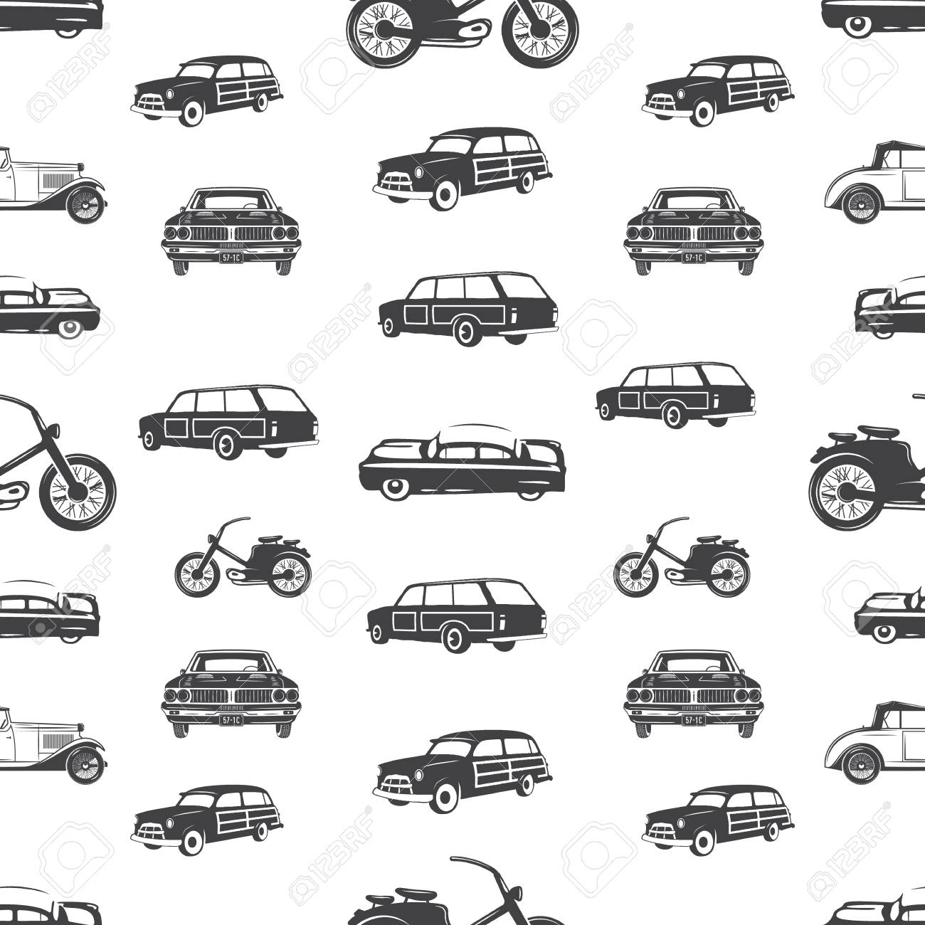Surfing transport seamless pattern. Retro Surf car, motorcycle wallpaper background in monochrome style. Vintage hand drawn concept. Stock vector illustration isolated on white. - 105752691