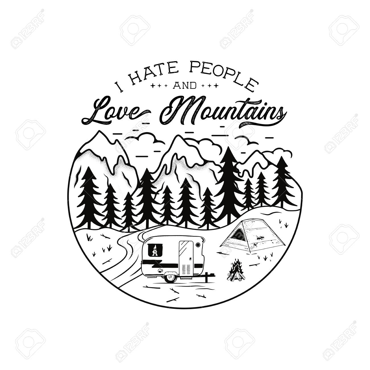 Vector vintage hand drawn camping emblem i hate people and love mountains quote camp t shirt funny adventure concept for tee