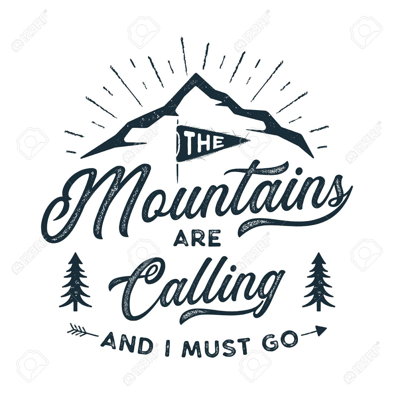68f53801 Stock vector illustration. Travel T-Shirt Print. The mountains are calling  and i must go design.