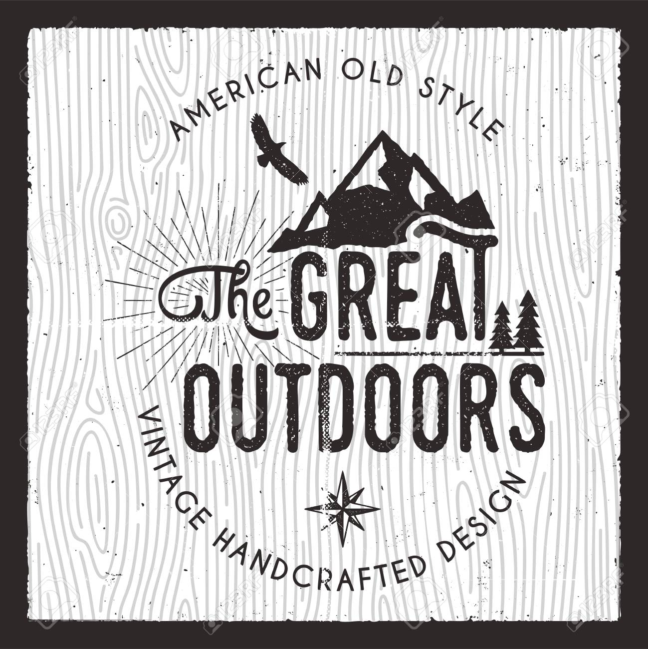 acc61b7e Stock Vector emblem. The Great Outdoors card. Wanderlust Camping badge. Old  hand drawn t shirt Print Apparel