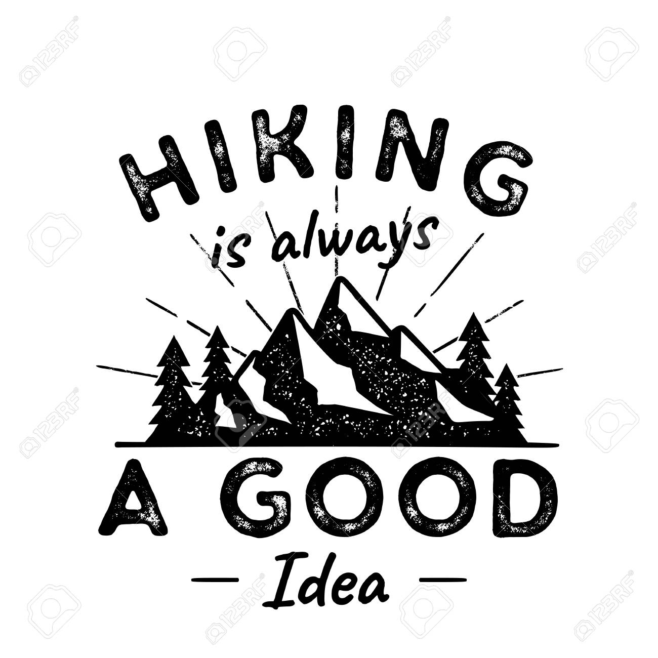 0cecb894 Hiking Adventure Logo illustration. Hiking is a good idea. Featuring  Mountains, trees,
