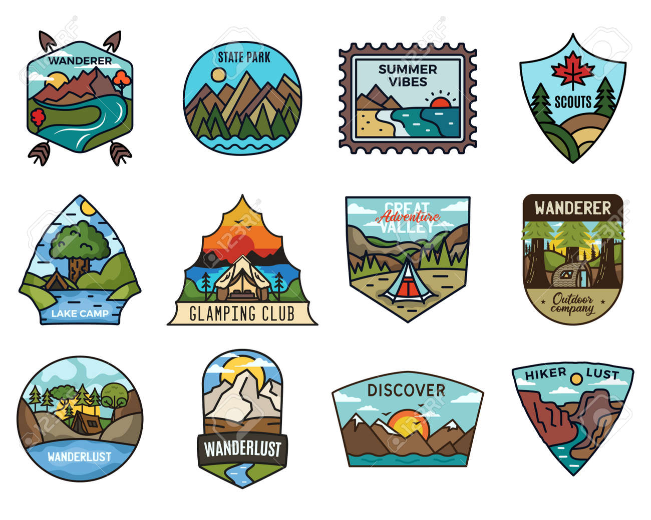 Travel adventure collection, Vintage camping emblems. Hand drawn hiking emblems, mountain stickers designs bundle. Discover, state park badges, scouts labels. Stock vector. - 166266057