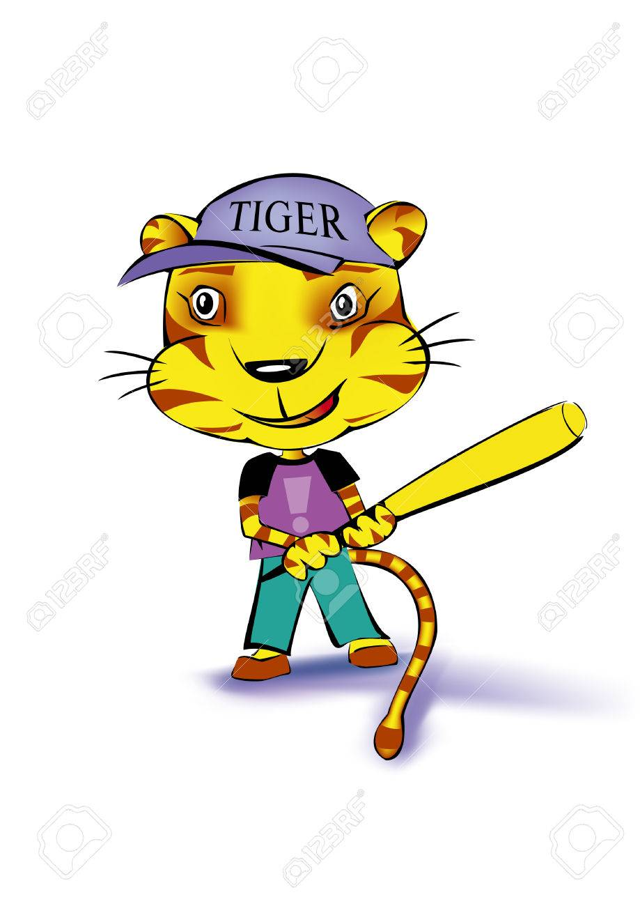 a tiger playing baseball on white background Stock Vector - 5807528