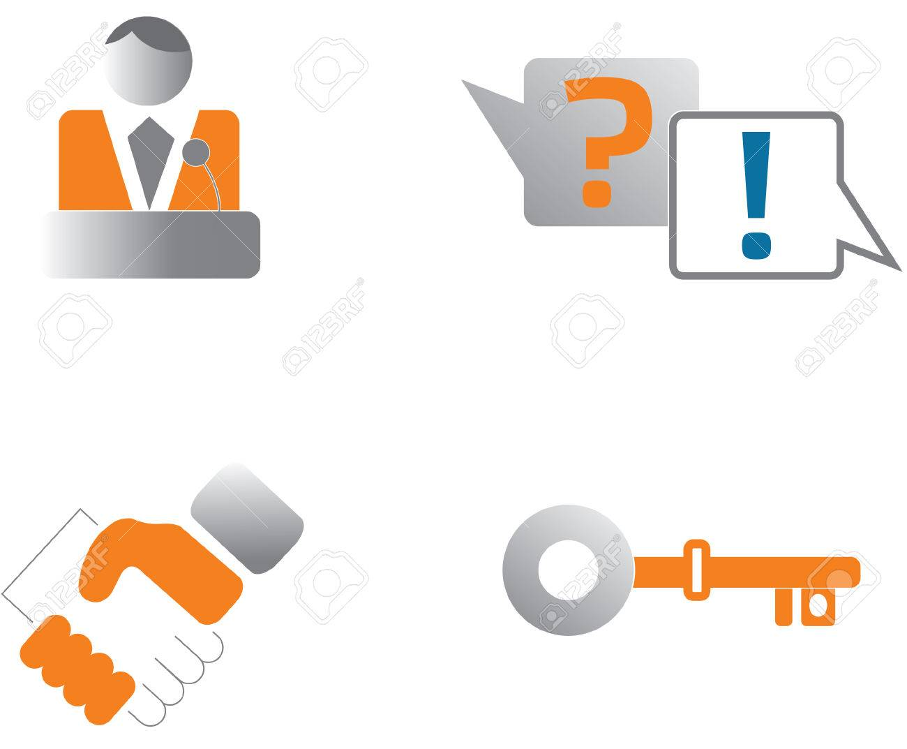 login about us question answer key icon set Stock Vector - 8658907